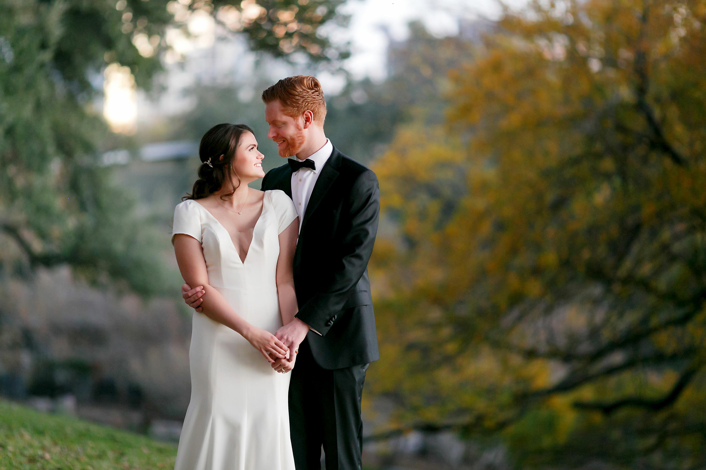 Face to face couple portrait in garden - photo by Jenny DeMarco Photography