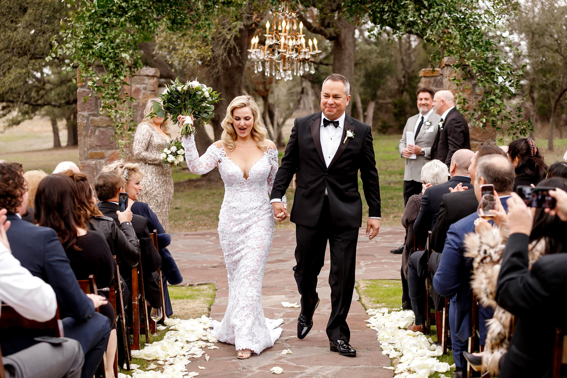 Outdoor couple recessional - photo by Jenny DeMarco Photography