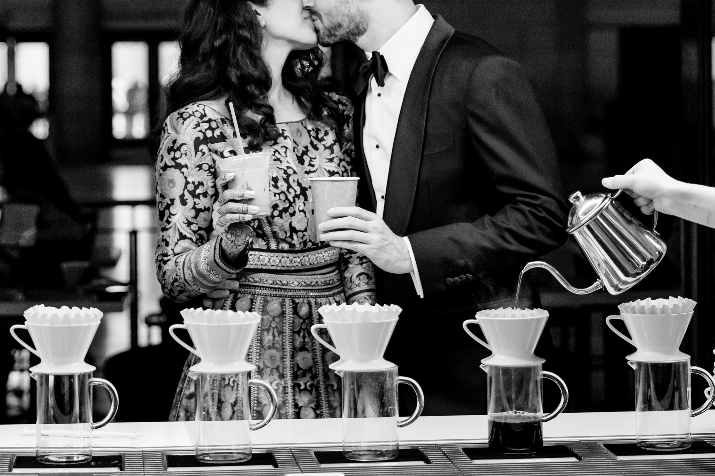 coffee pouring and couple kissing- photo by Procopio Photography