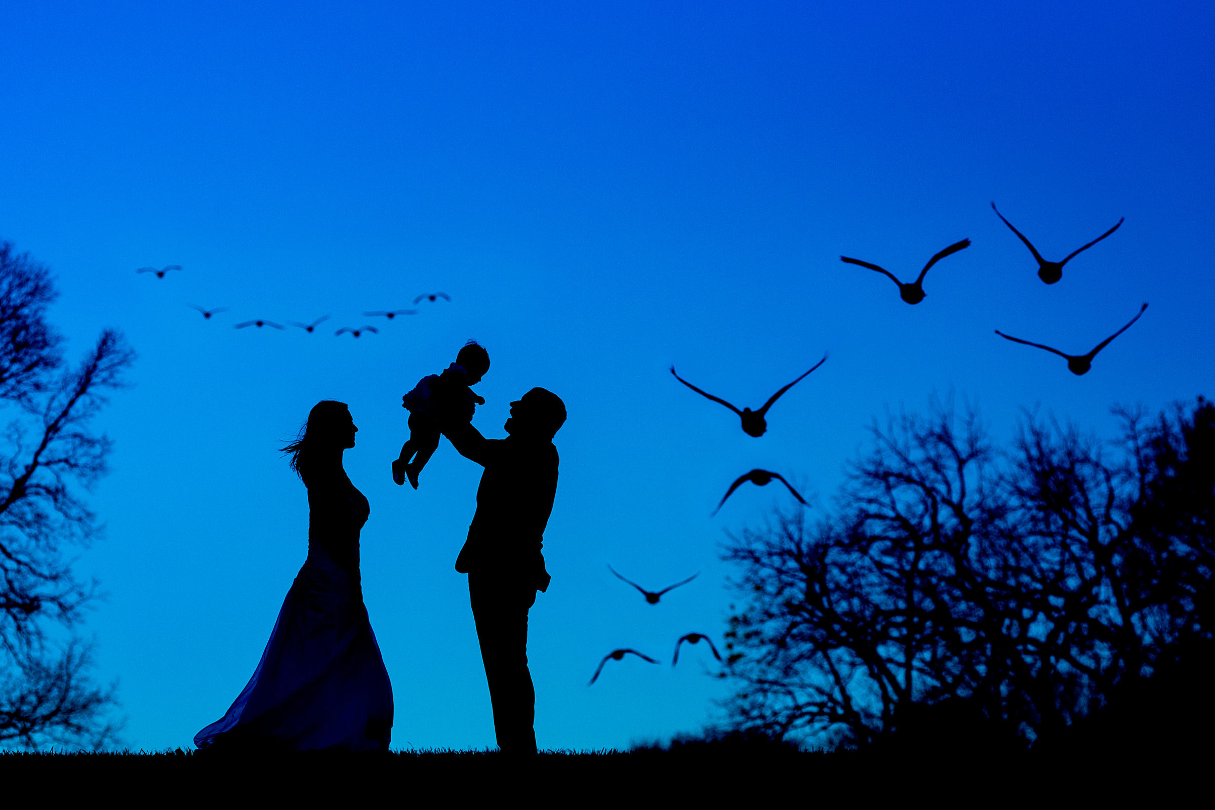 Couple silhouette with baby and birds against blue sky - photo by Procopio Photography