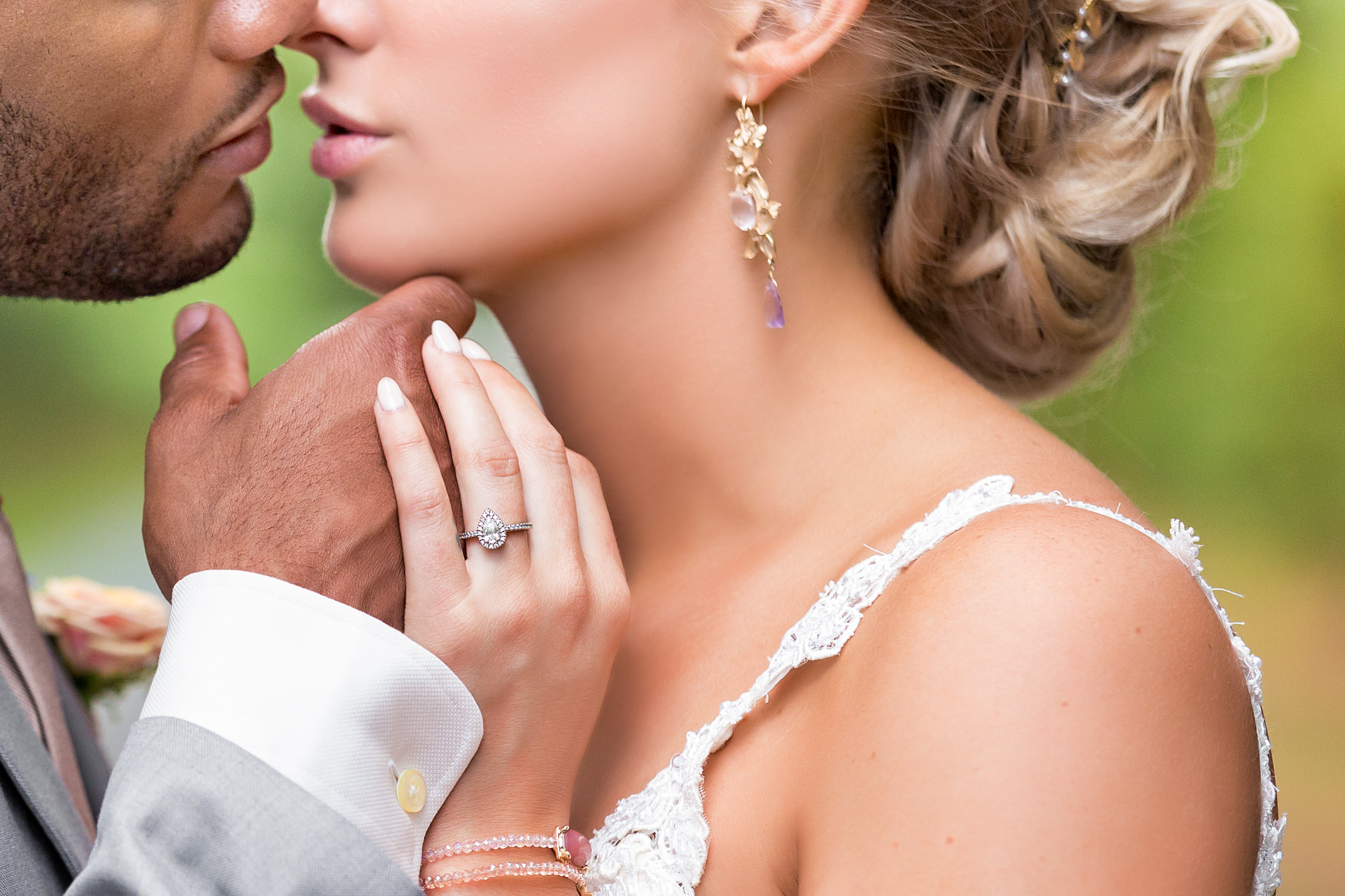 Detail of couple kiss - photo by Procopio Photography