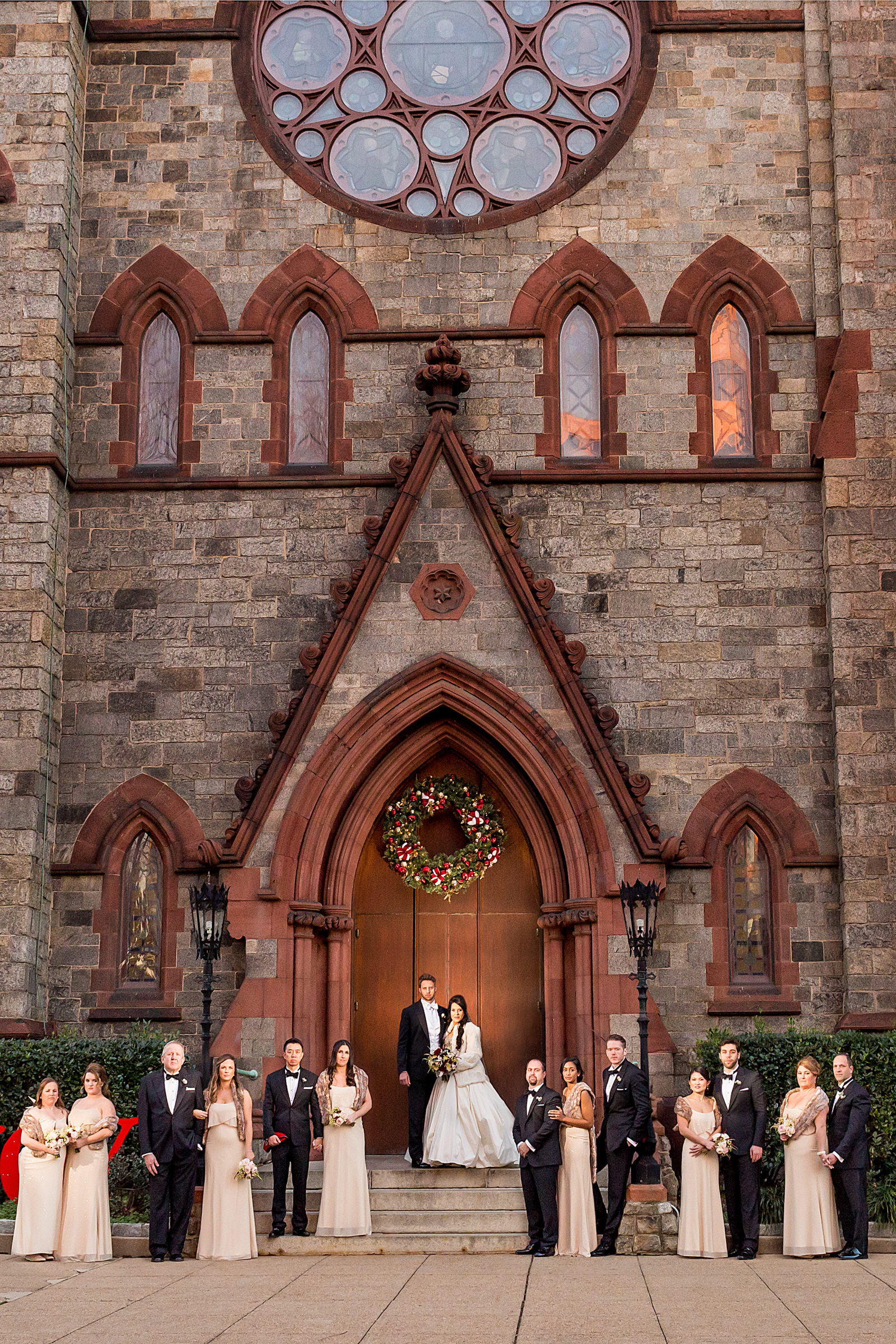 Formal group portrait outside church - photo by Procopio Photography