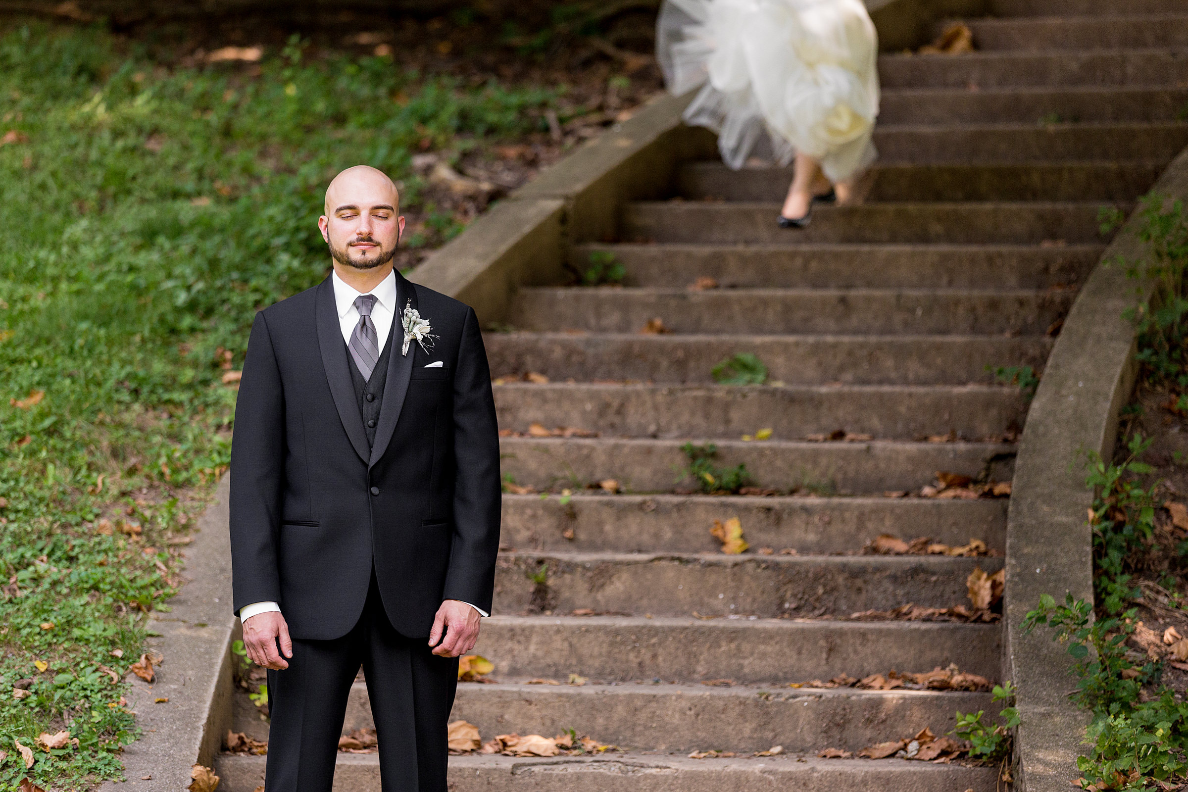 Groom waits for bride at first look - photo by Procopio Photography