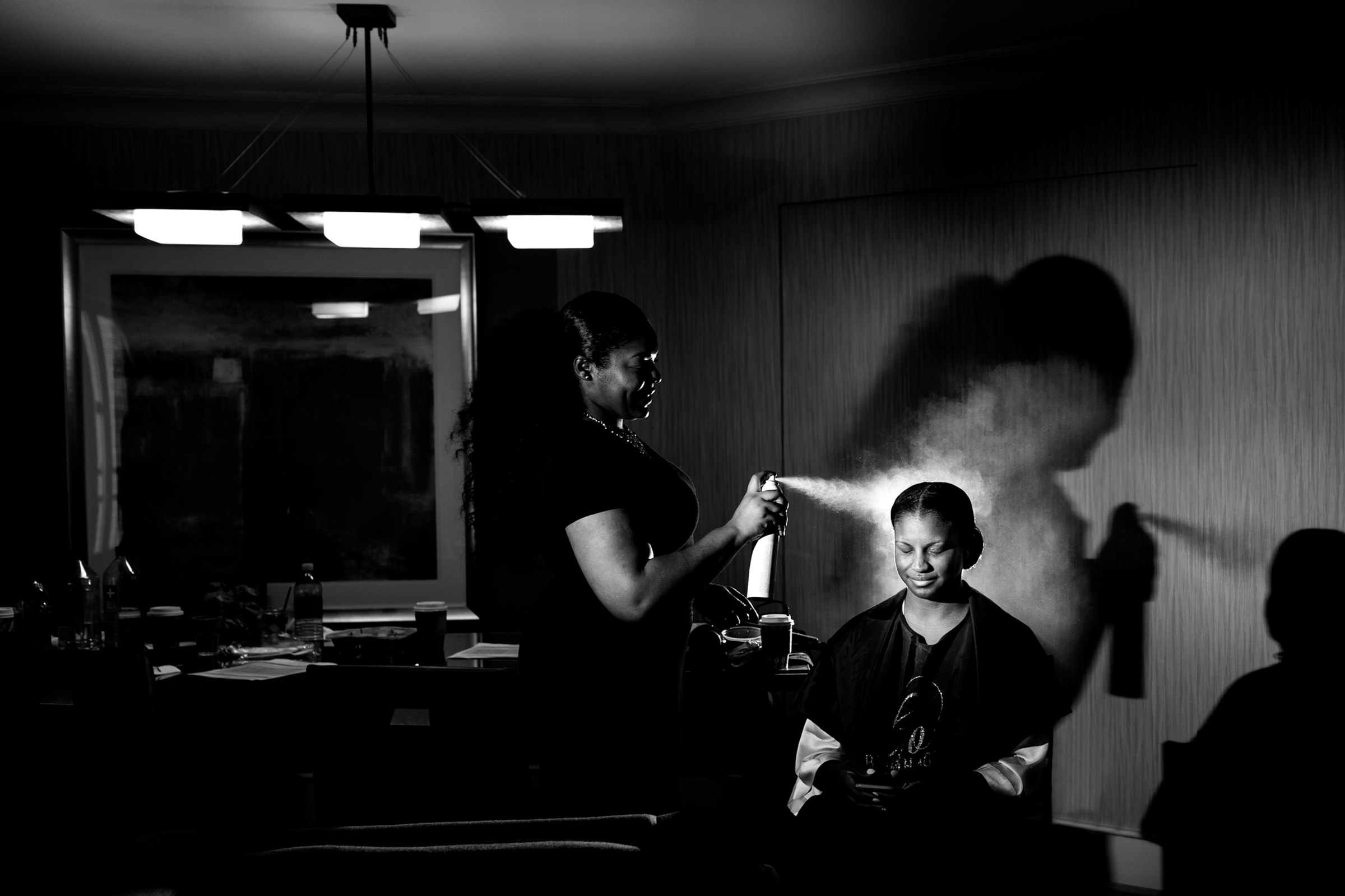 Hairspray being applied - photo by Procopio Photography
