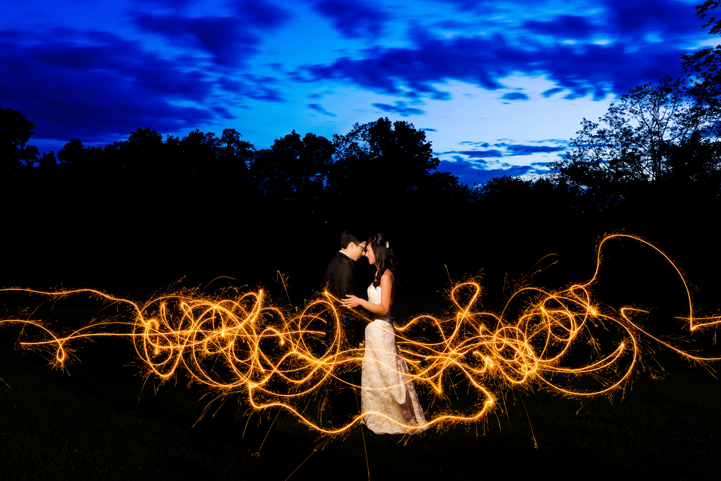 Outdoor couple portrait with strobe lighting - photo by Procopio Photography
