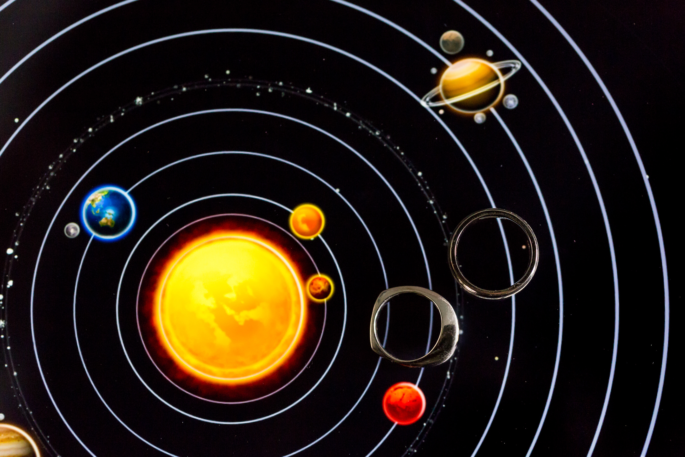 Rings against image of planetary orbits - photo by Procopio Photography