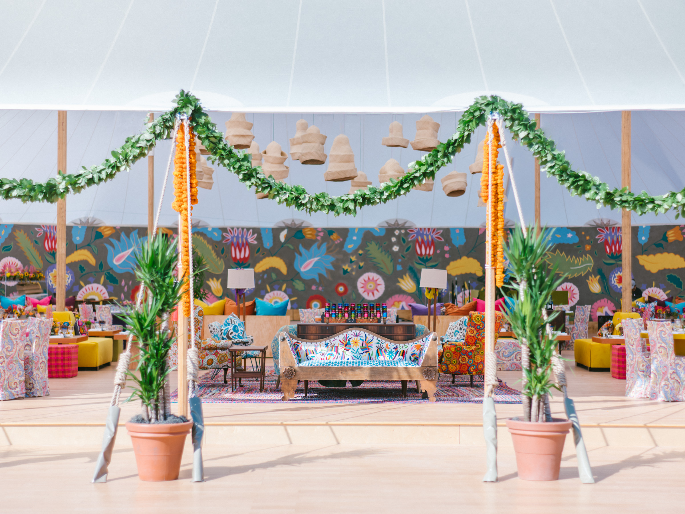 bright and colorful unique reception decor- photo by Amy and Stuart Photography, Los Angeles