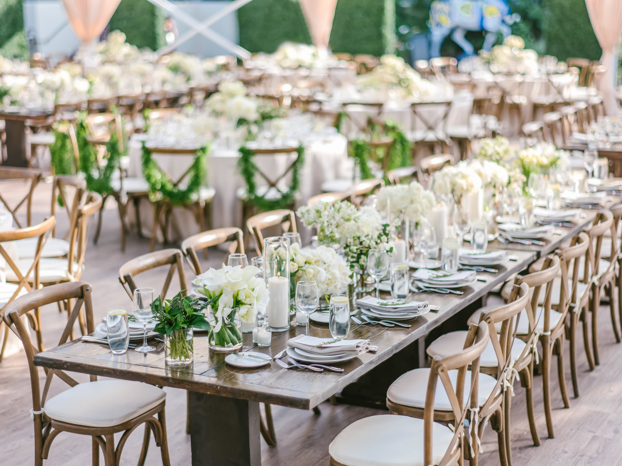 farmhouse table at wedding reception with floral centerpieces- photo by Amy and Stuart Photography, Los Angeles