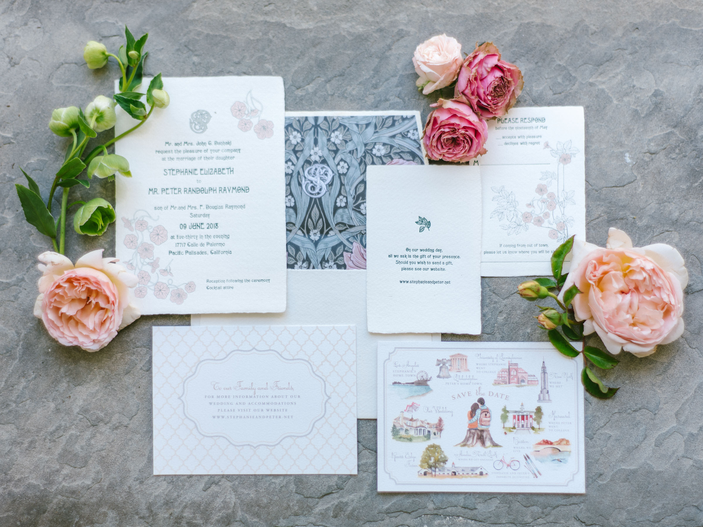 Flatlay of wedding stationery with pink roses - photo by Amy and Stuart Photography
