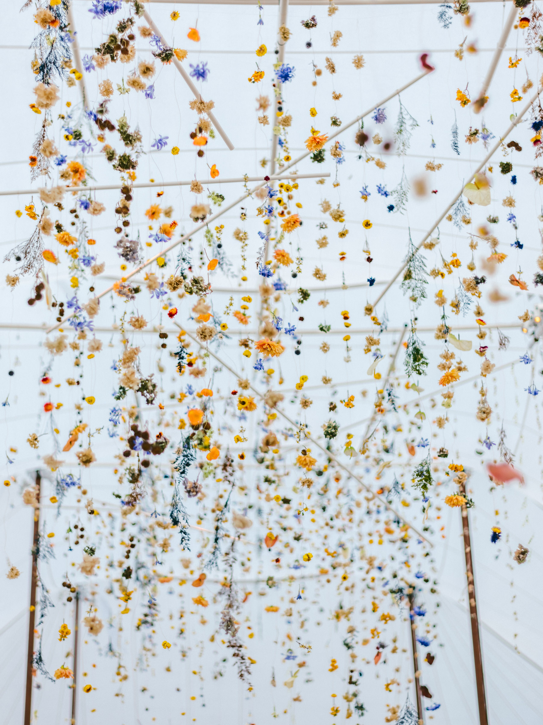 Hanging strands of flowers - photo by Amy and Stuart Photography