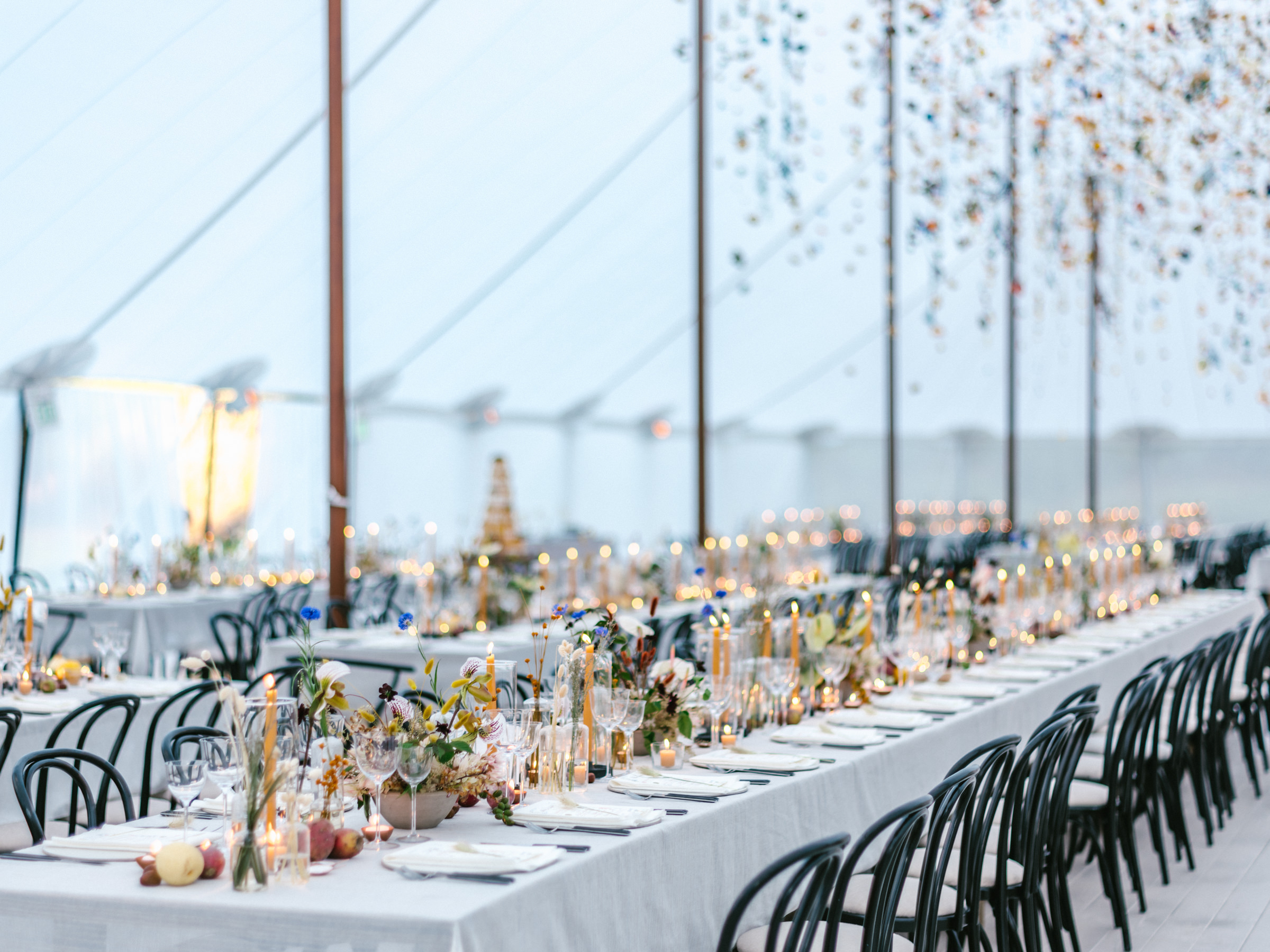 Long table with place settings and hanging strings of flowers  - photo by Amy and Stuart Photography