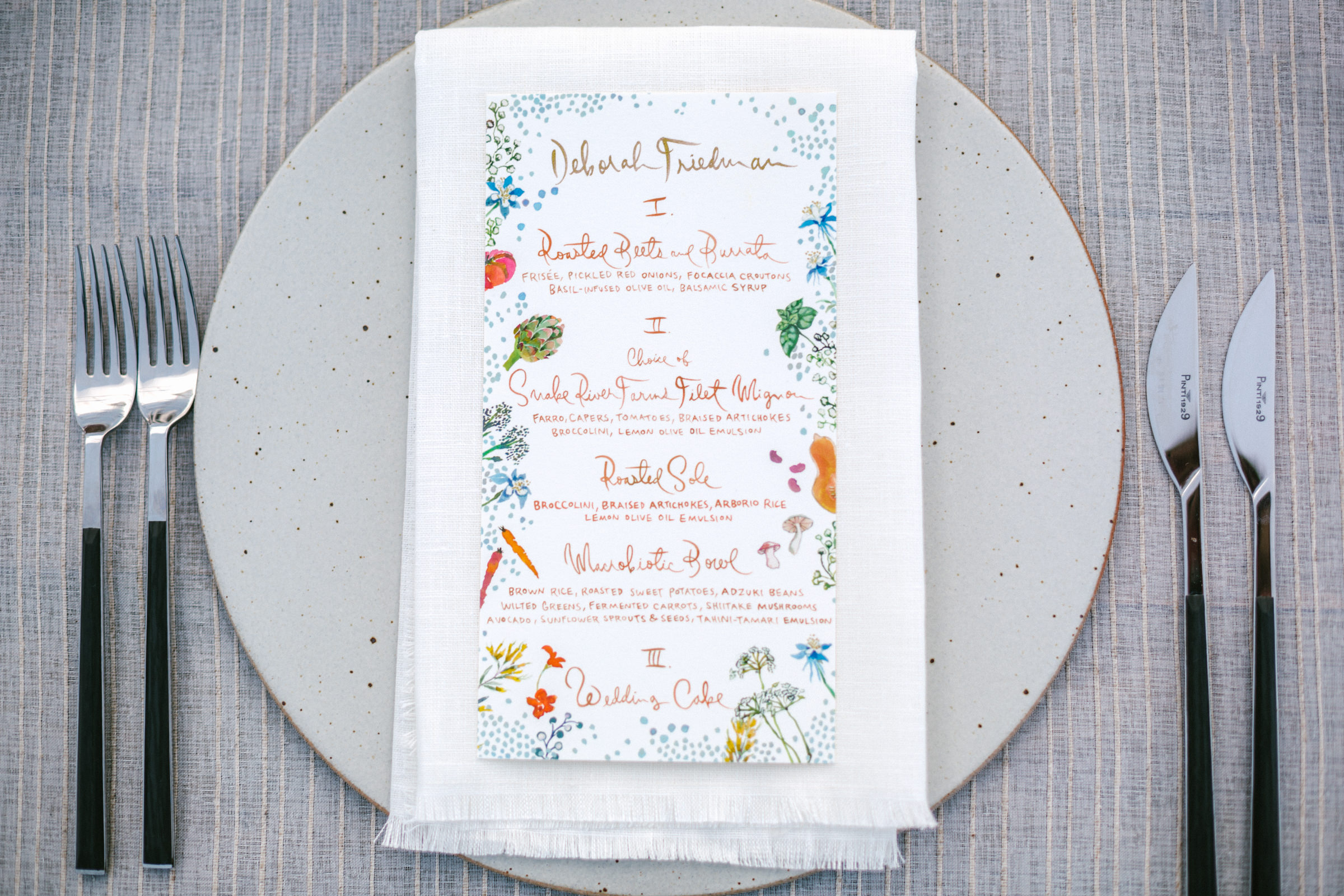 Menu with drawings - photo by Amy and Stuart Photography