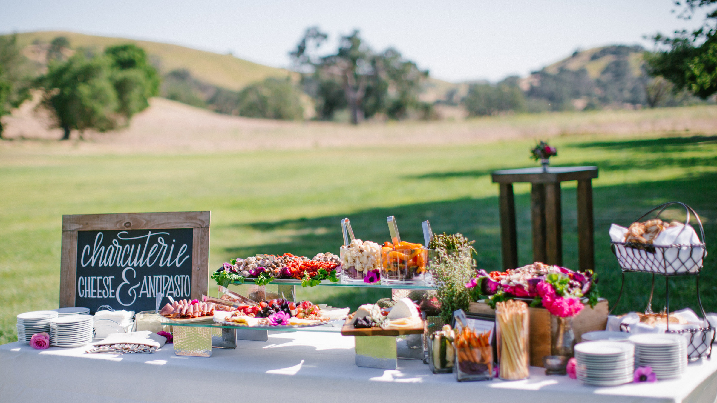 Reception menu charcuterie table and antipasto against lawn and hills - photo by Amy and Stuart Photography
