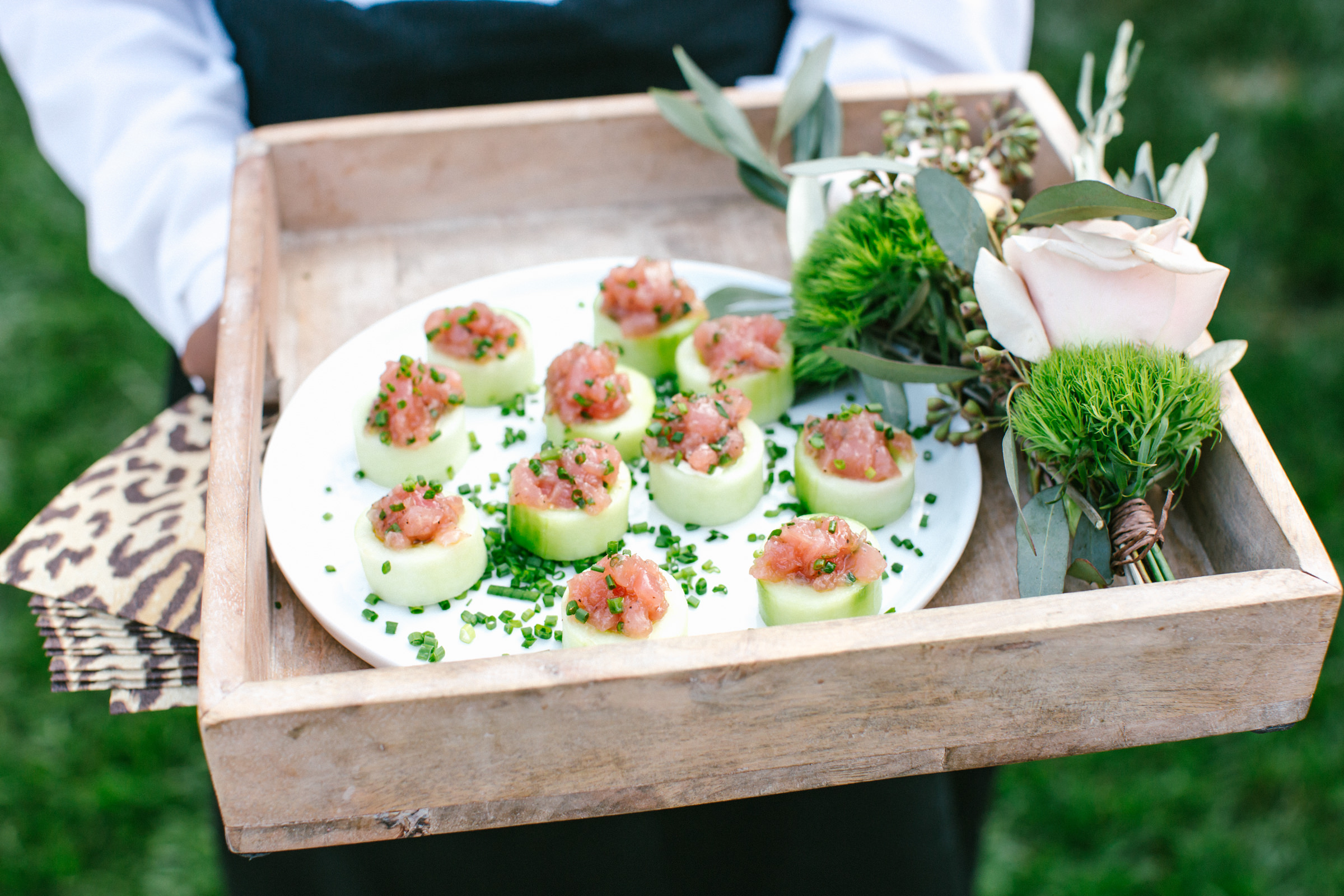 Reception menu cucumber and salmon platter with chives - photo by Amy and Stuart Photography