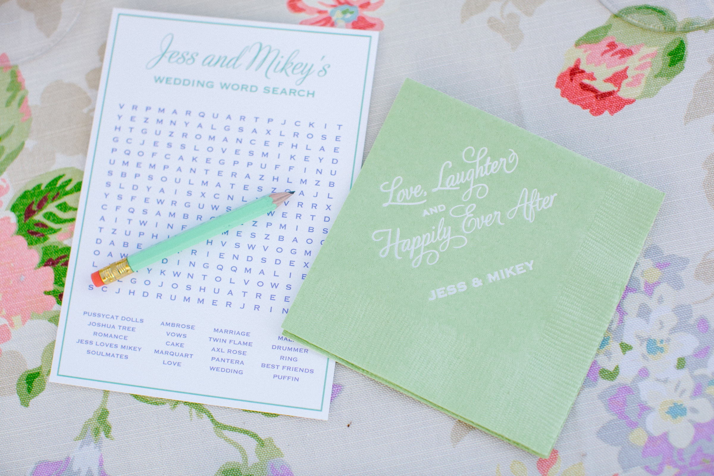 wedding reception word search- photo by Amy and Stuart Photography, Los Angeles
