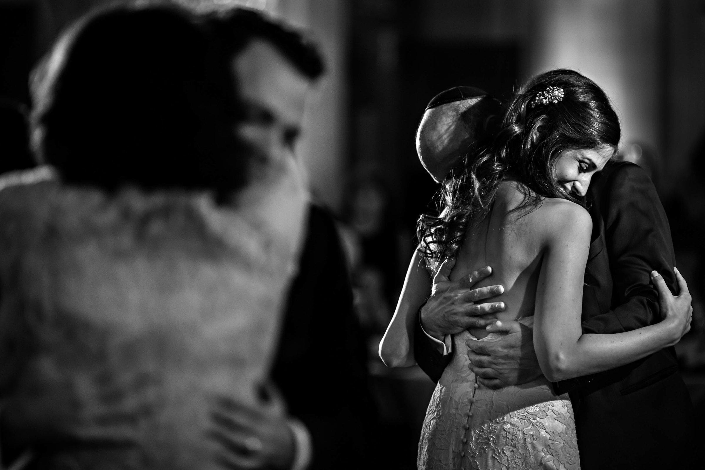 Father daughter dance with groom and mom beside them - photo by Moore Photography