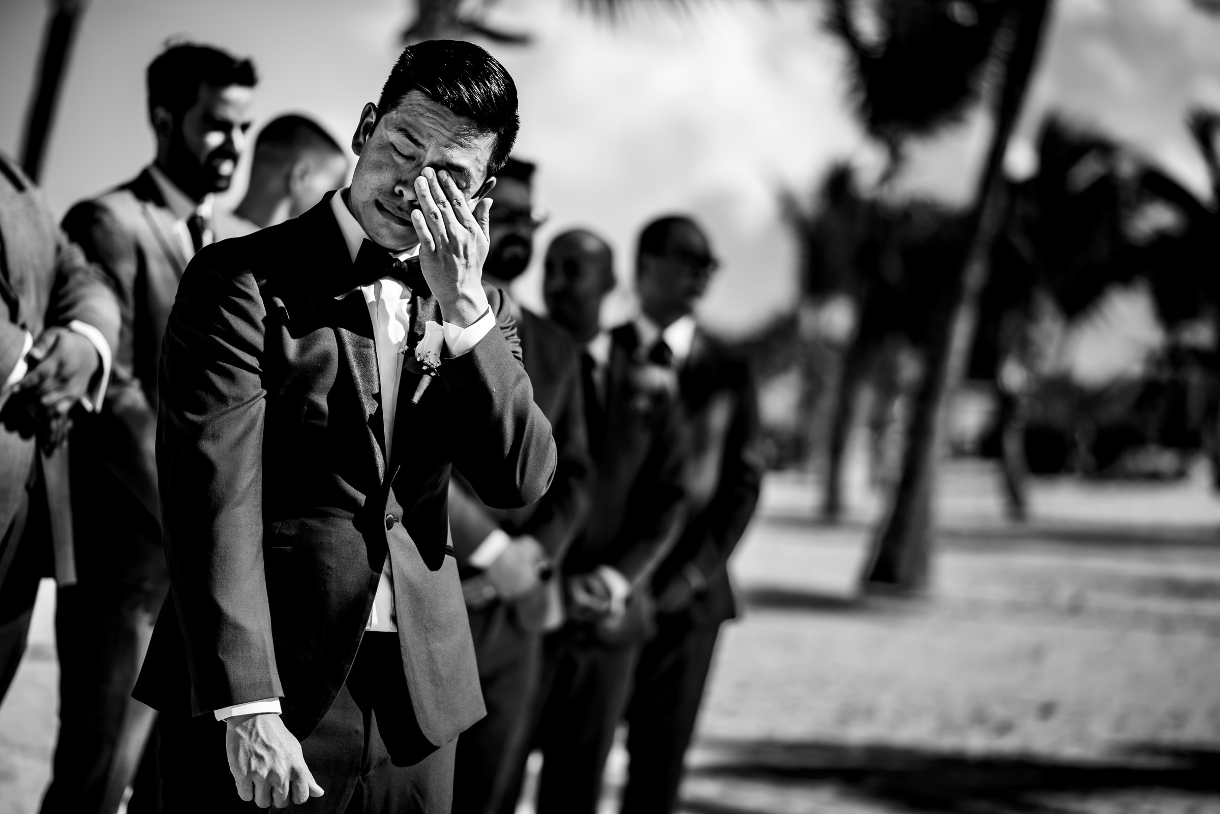 Tearful moment for the groom - photo by Moore Photography