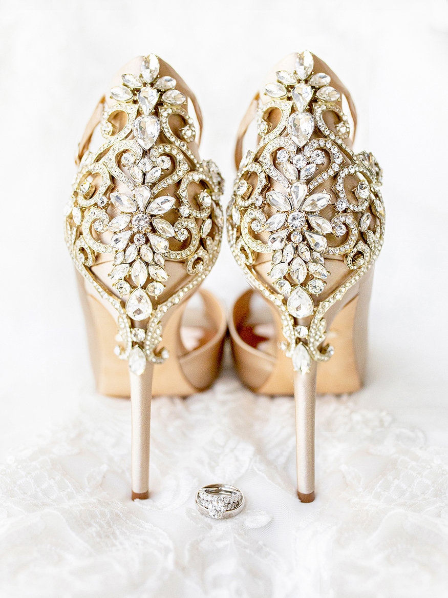 Badgley Mischka jeweled wedding heels with diamond rings - photo by Anna Schmidt Photography - DC