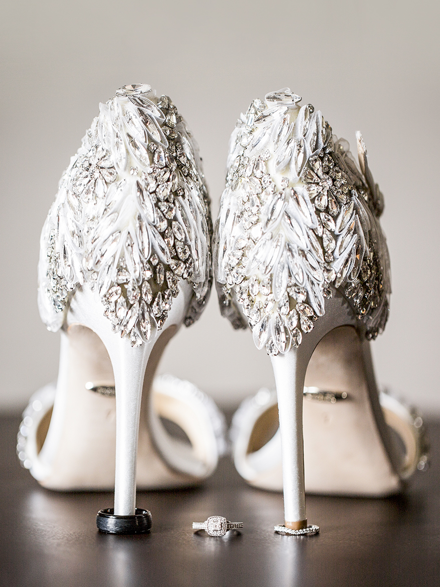 Jeweled Badgley Mischka weddomg shoes and square diamond ring - photo by Anna Schmidt Photography - DC