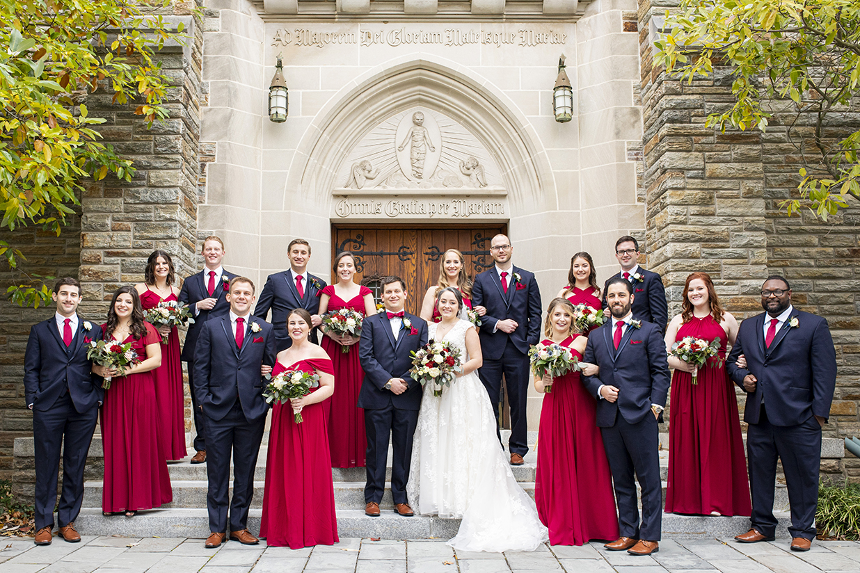 Wedding party in black and red - photo by Anna Schmidt Photography
