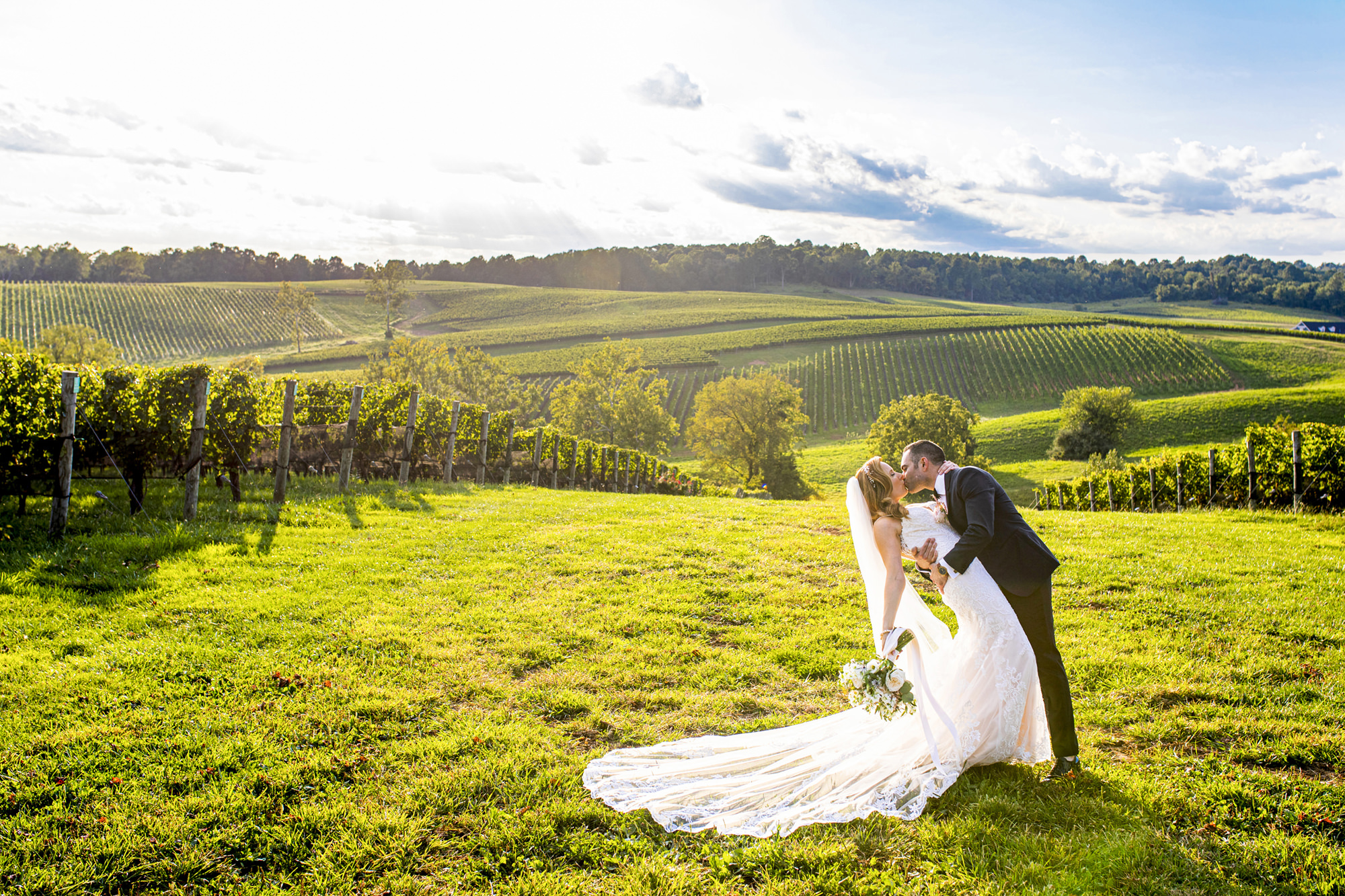 Dramatic kiss at Stone Tower Winery Washington DC - photo by Anna Schmidt Photography