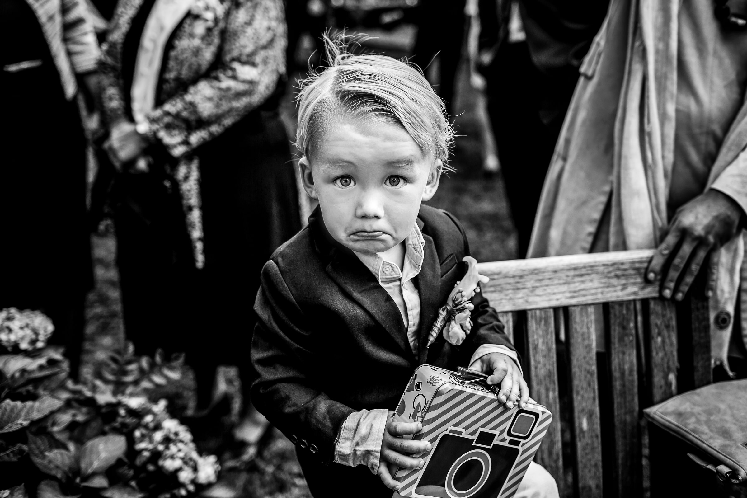 Little boy making a funny face - photo by Peter van der Lingen Wedding Photography