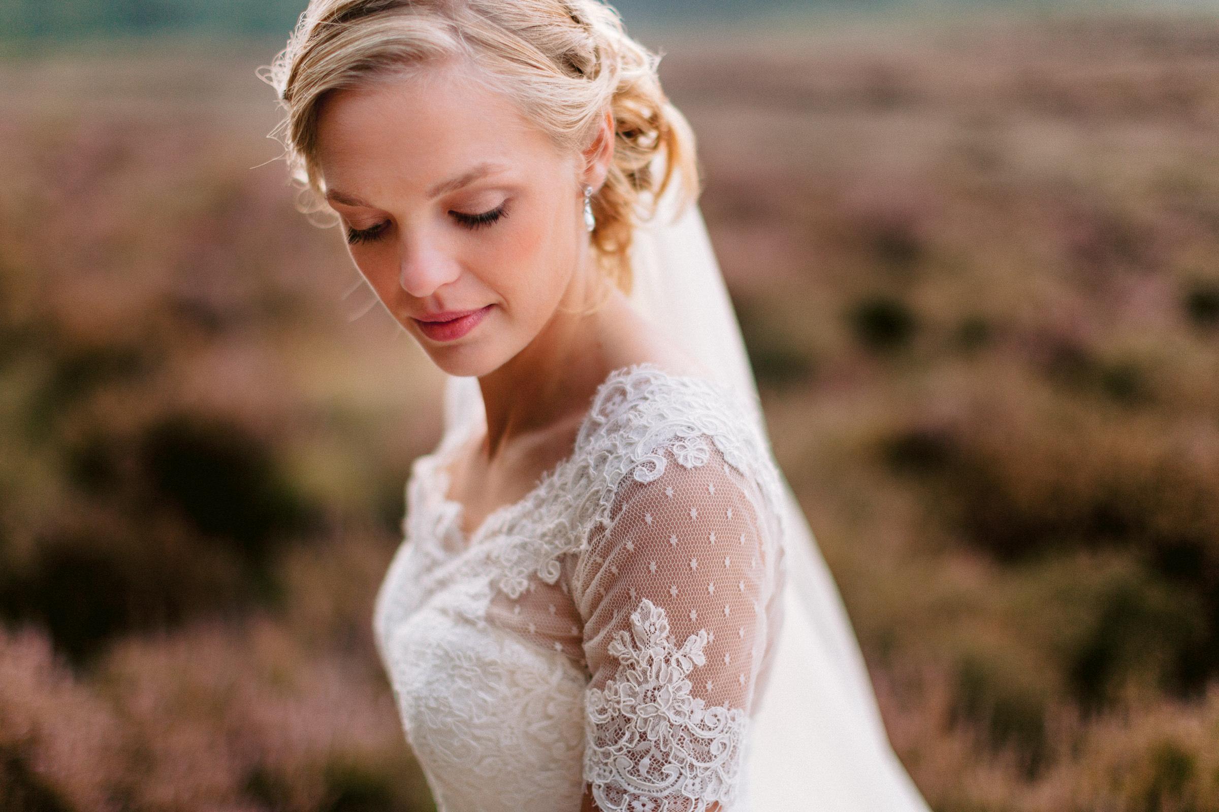 Closeup of outdoor bride - photo by Peter van der Lingen Wedding Photography