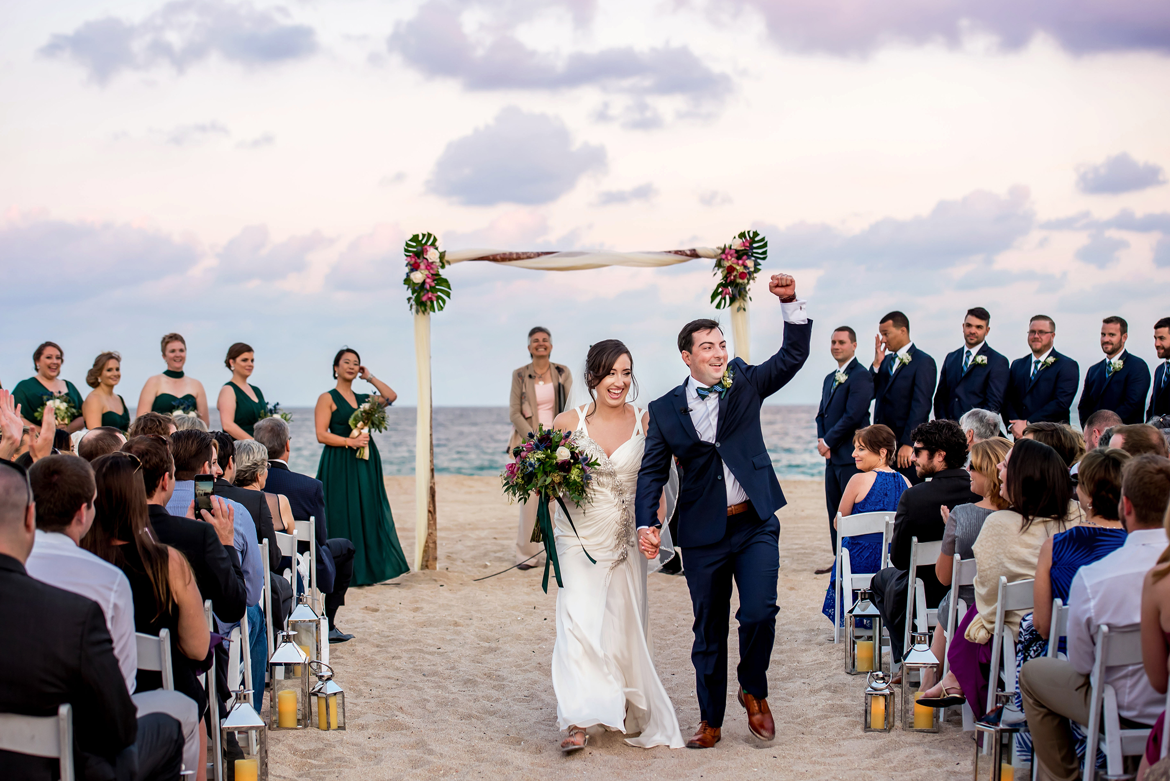 Just married couple after Florida beach ceremony - photo by Gloria Ruth Photography