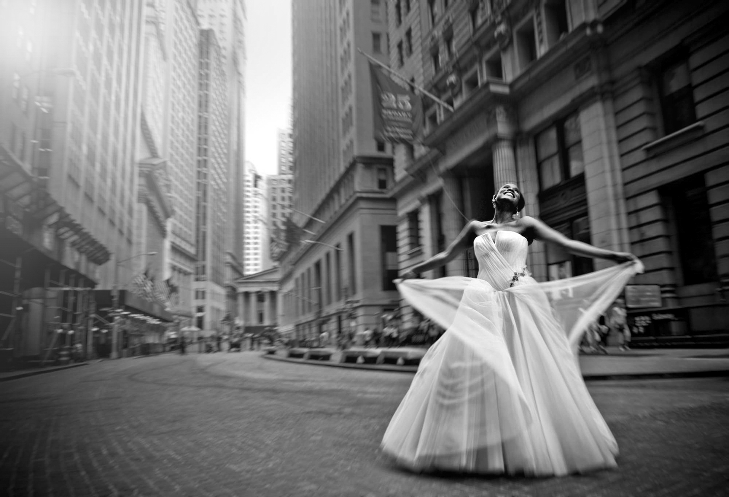 Happy bride in big city - photo by Matthew Sowa Photography