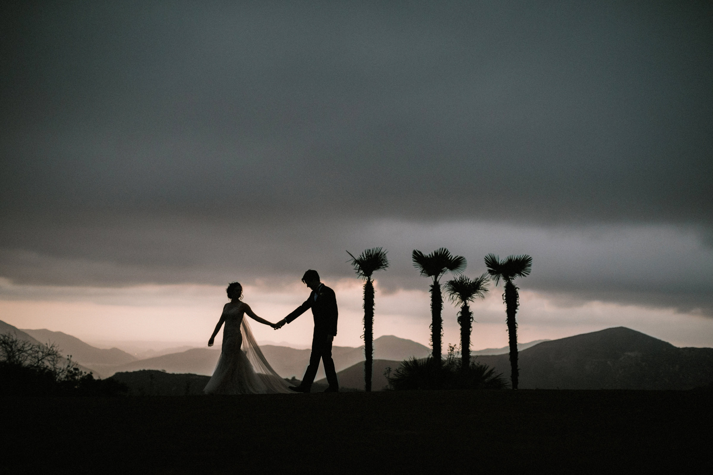 Couple mountain silhouette with palms and stormy skies - photo by Jonas Seaman Photography