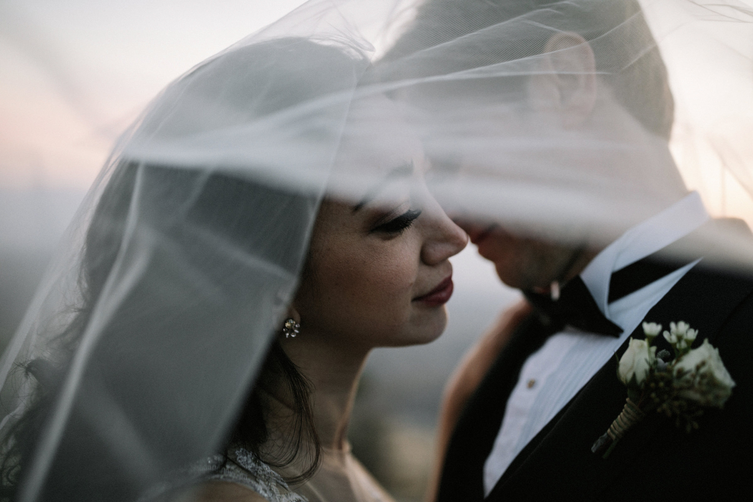 Detail couple portrait through veil - photo by Jonas Seaman Photography