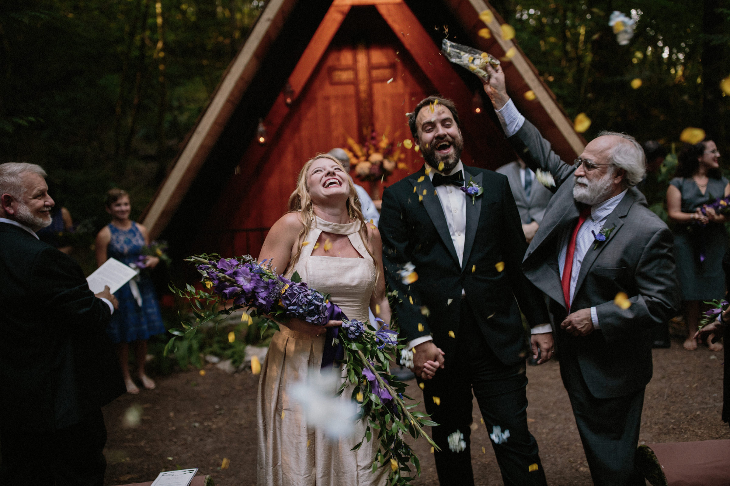 Showering the couple with confetti - photo by Jonas Seaman Photography