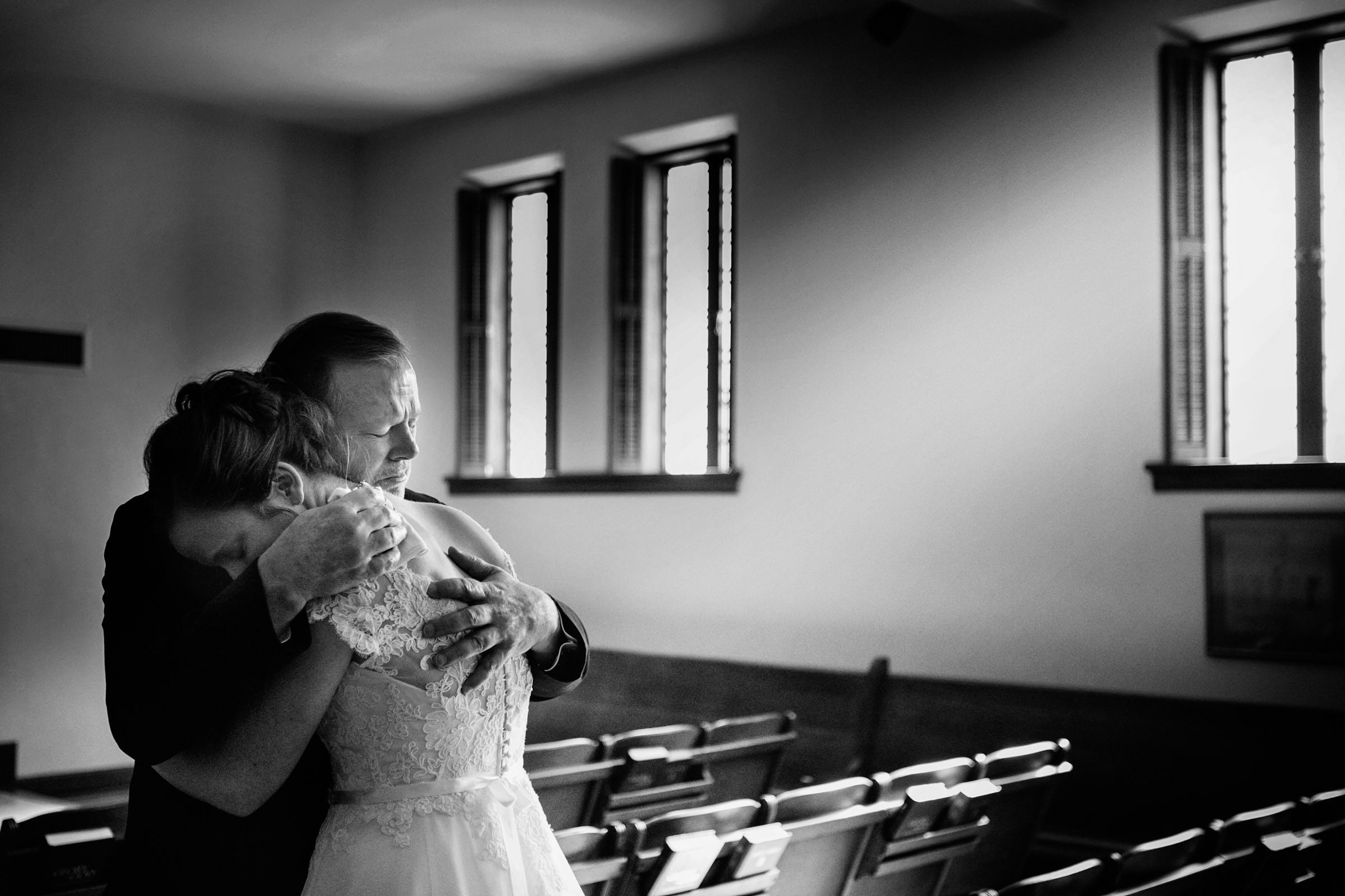 Father and bride embrace - photo by Marissa Joy Photography