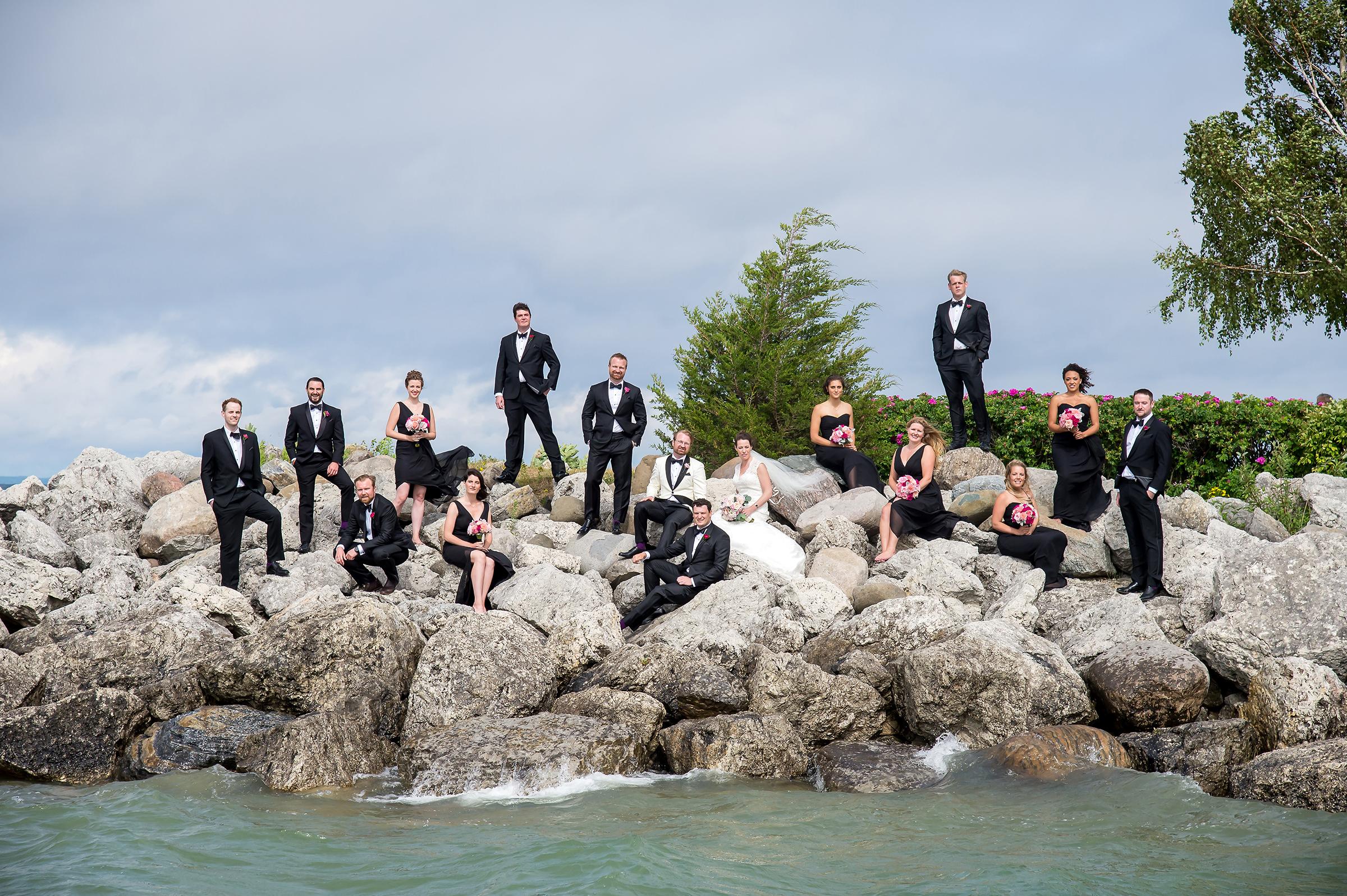 Classic beach wedding group shot photo by David & Sherry Photography
