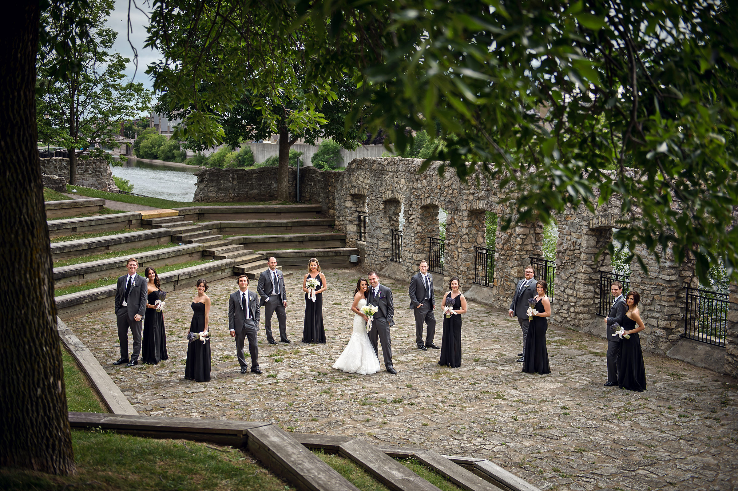 Cambridge Mill - couple and bridal party group shot - photo by David & Sherry Photography