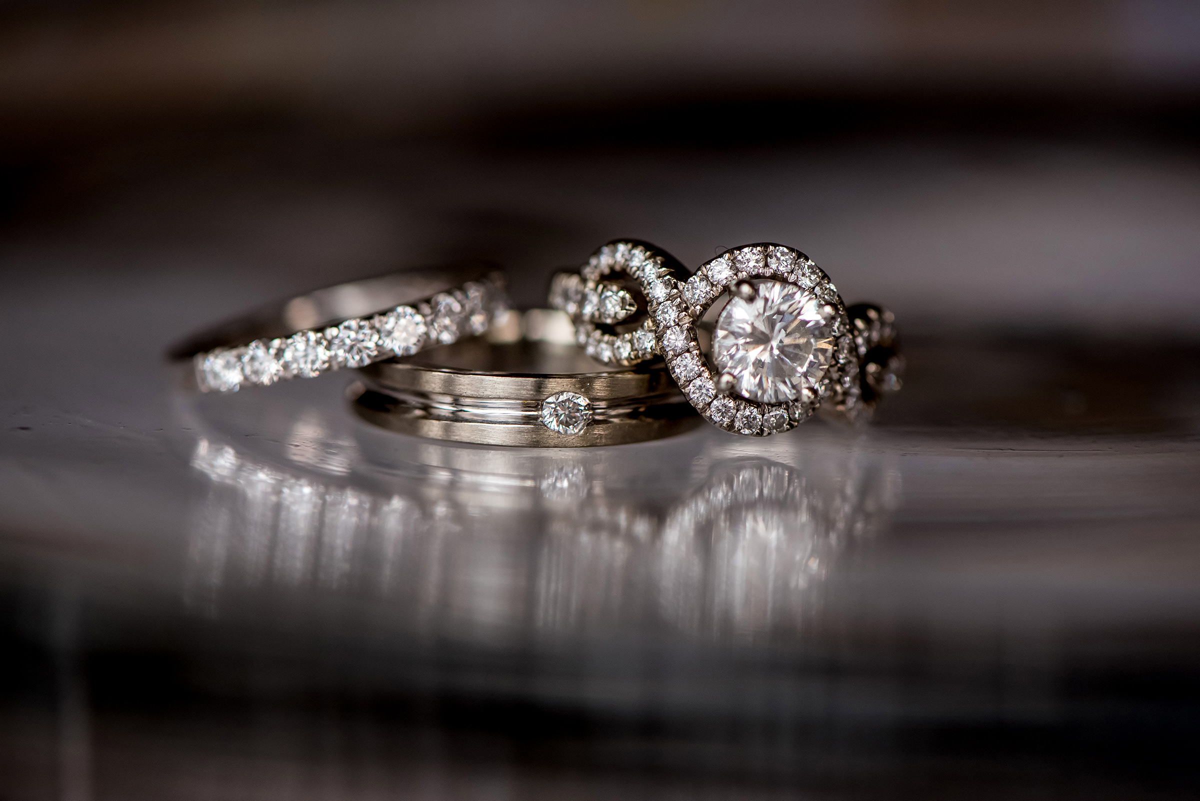 Diamond ring triad - photo by David & Sherry Photography
