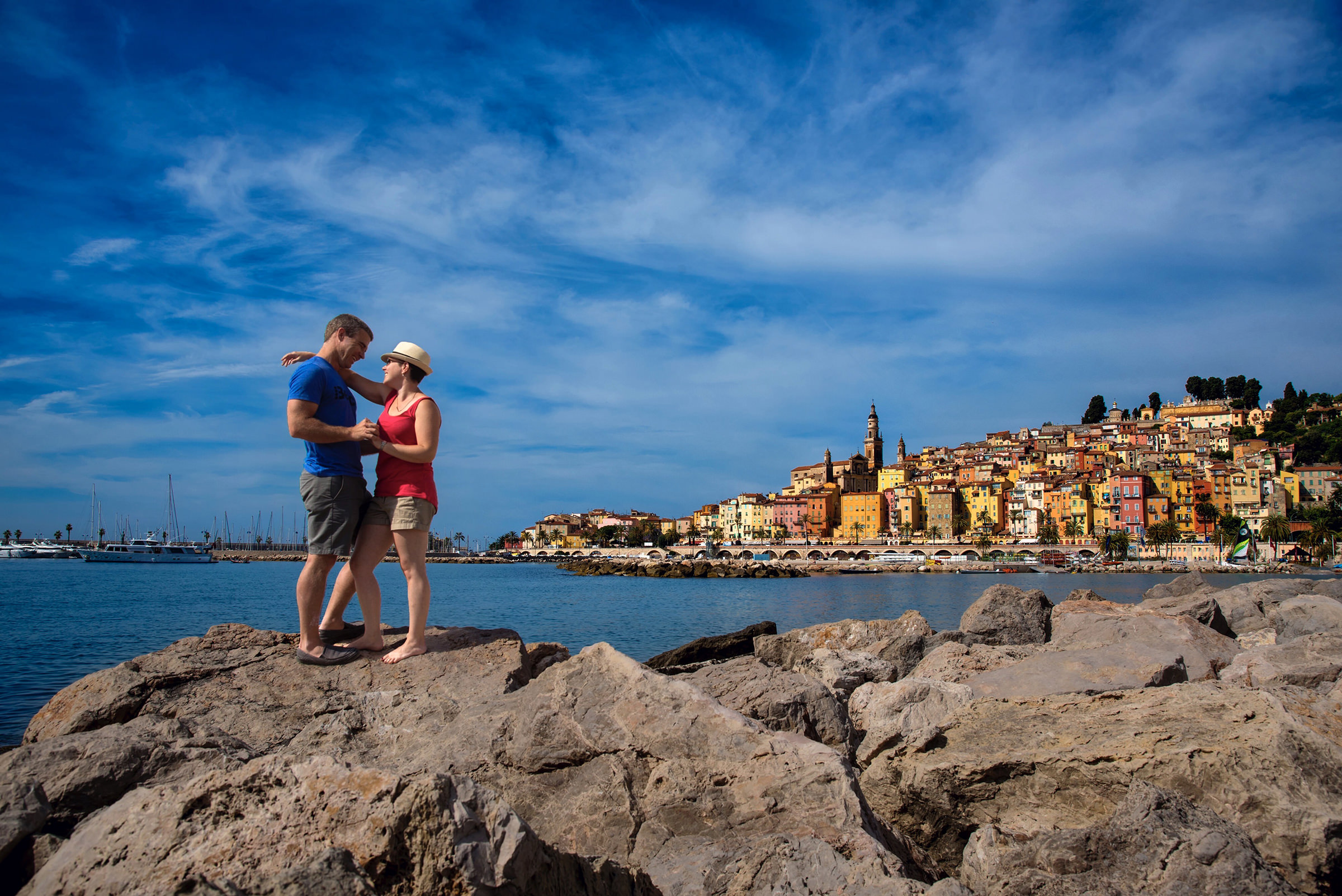 Menton France - engagement couple at waterfront - photo by David & Sherry Photography