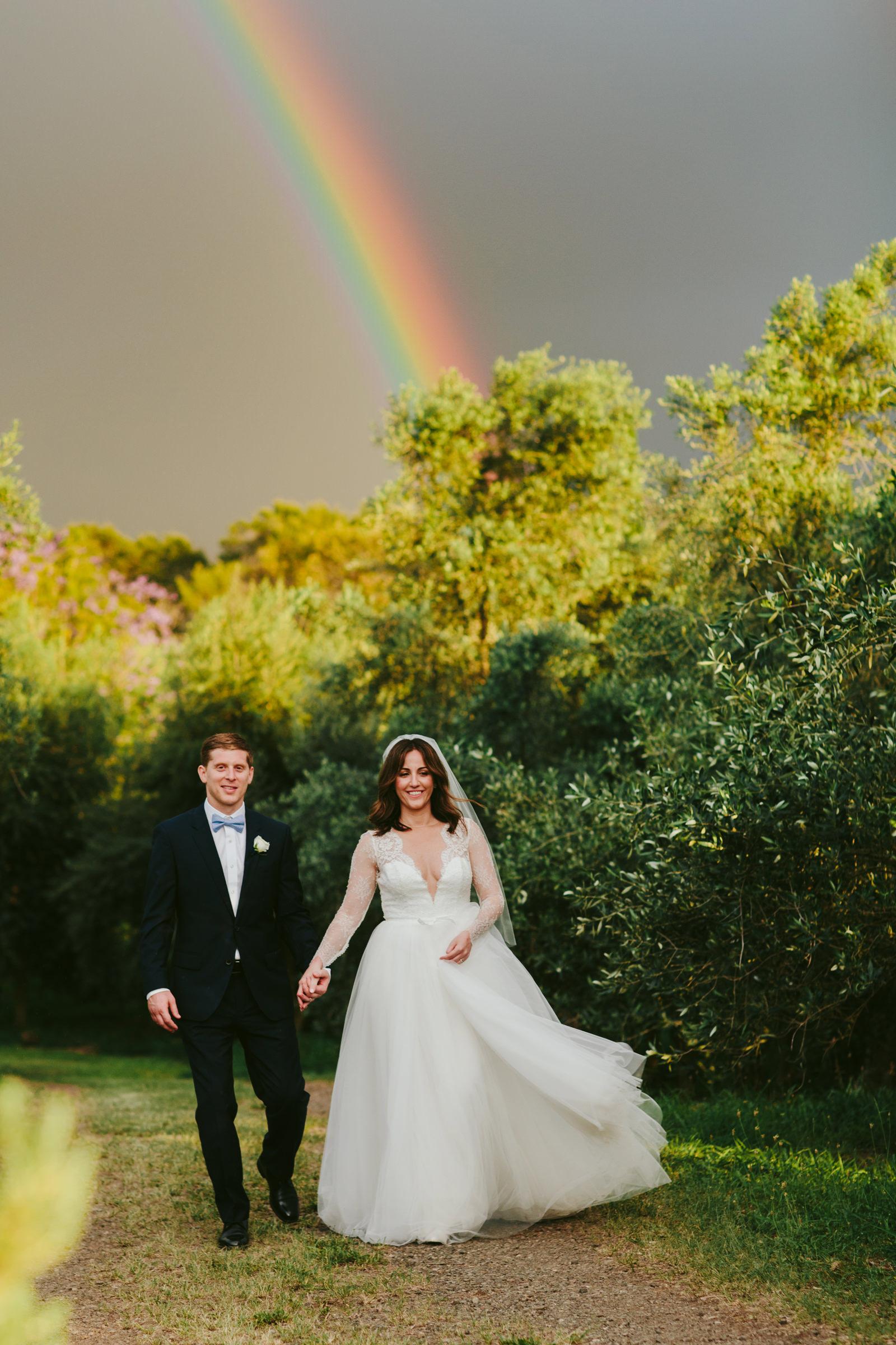 Calasa Olive Farm - portrait of couple with rainbow - photo by Melia Lucida