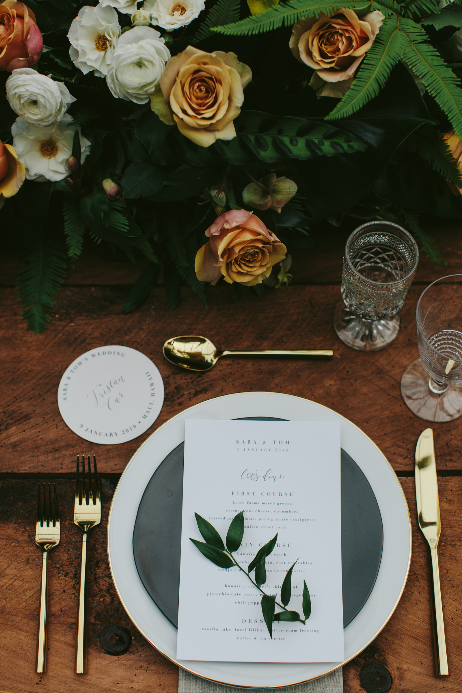 Haiku Mill maui detail to place setting with invitation and floral decor - photo by Melia Lucida