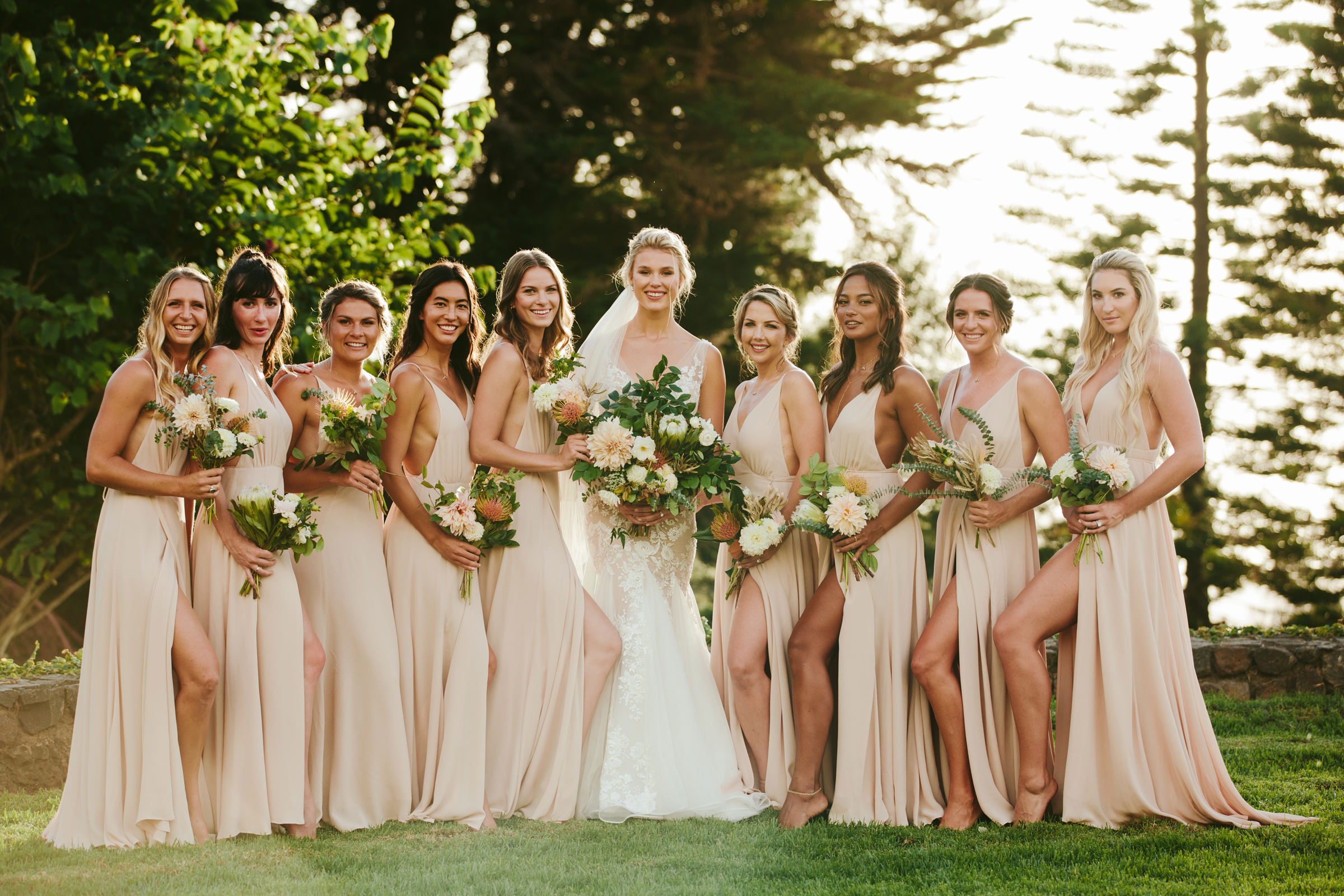Maui bride with bridesmaids - photo by Melia Lucida