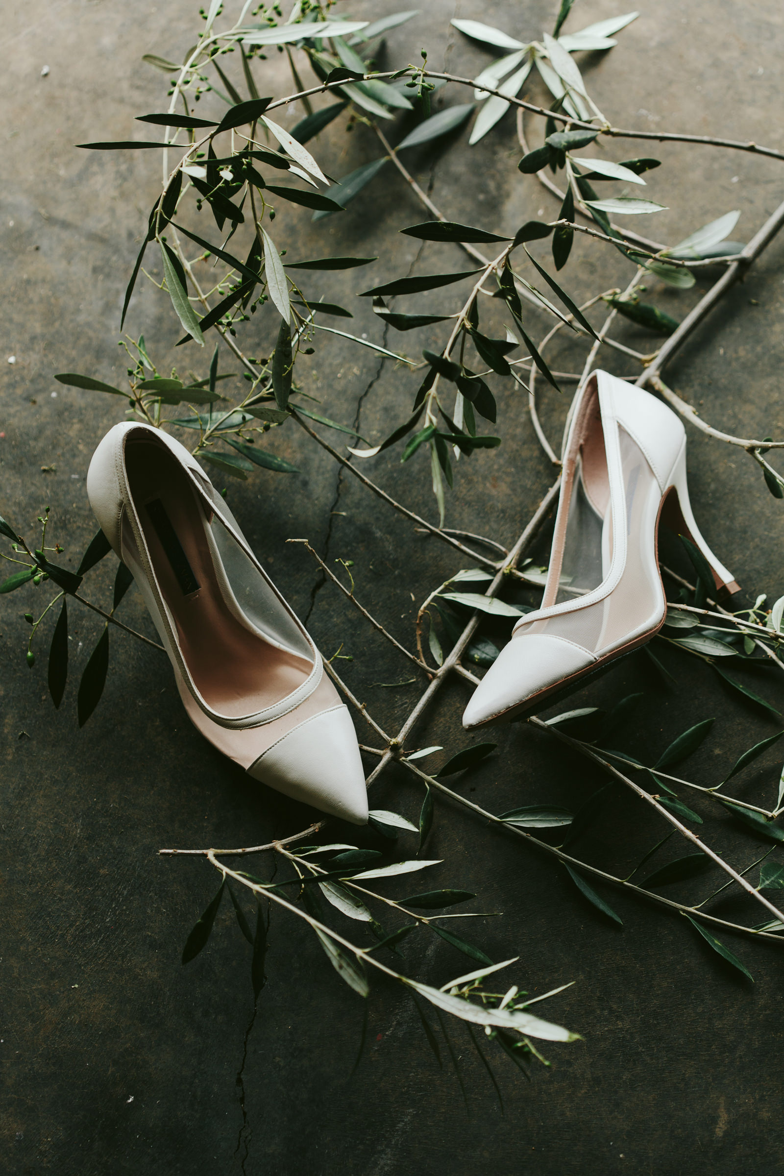 Sheer bridal pumps with eucalyptus leaves - photo by Melia Lucida