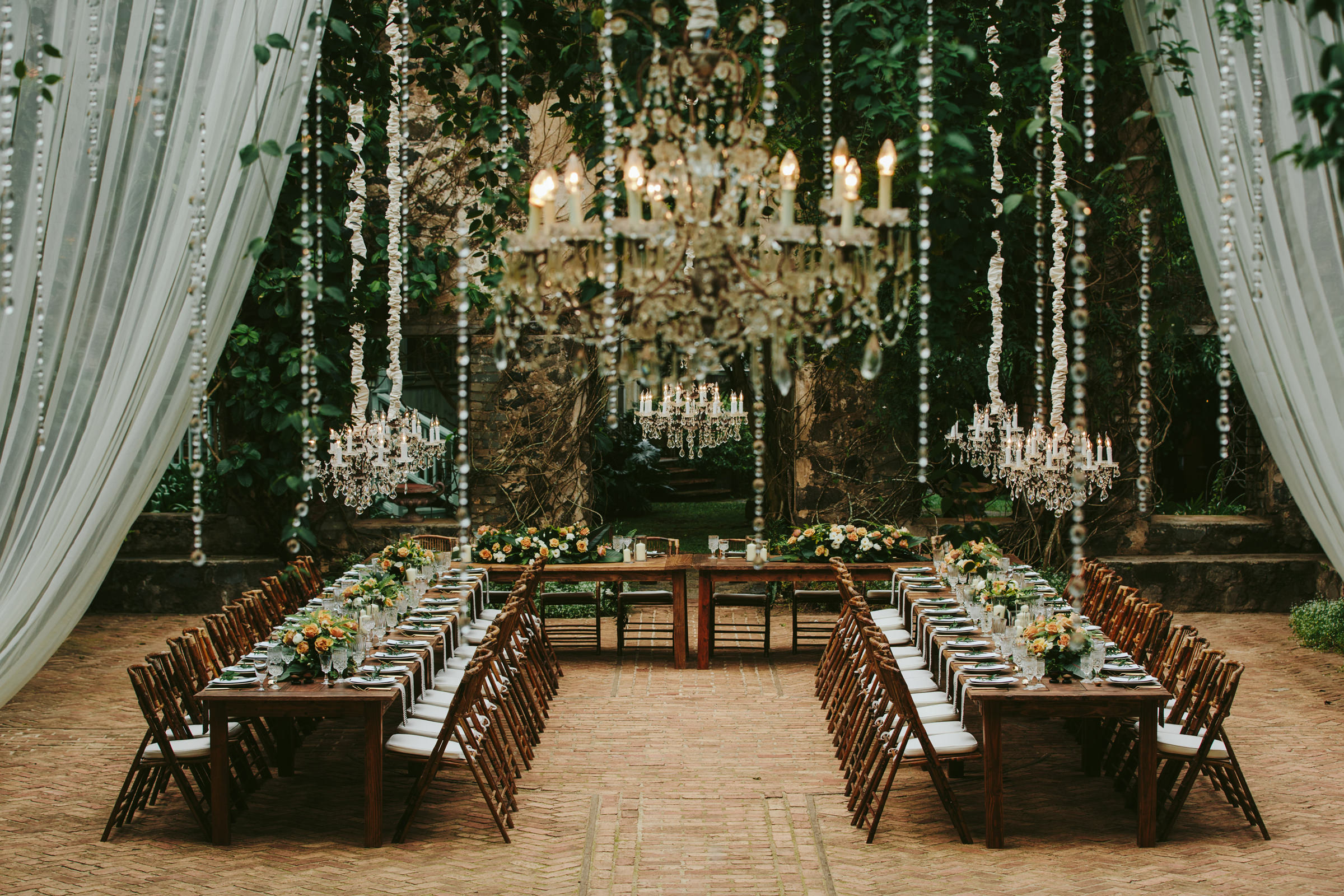 Wedding reception seating at Haiku Mill Maui - photo by Melia Lucida