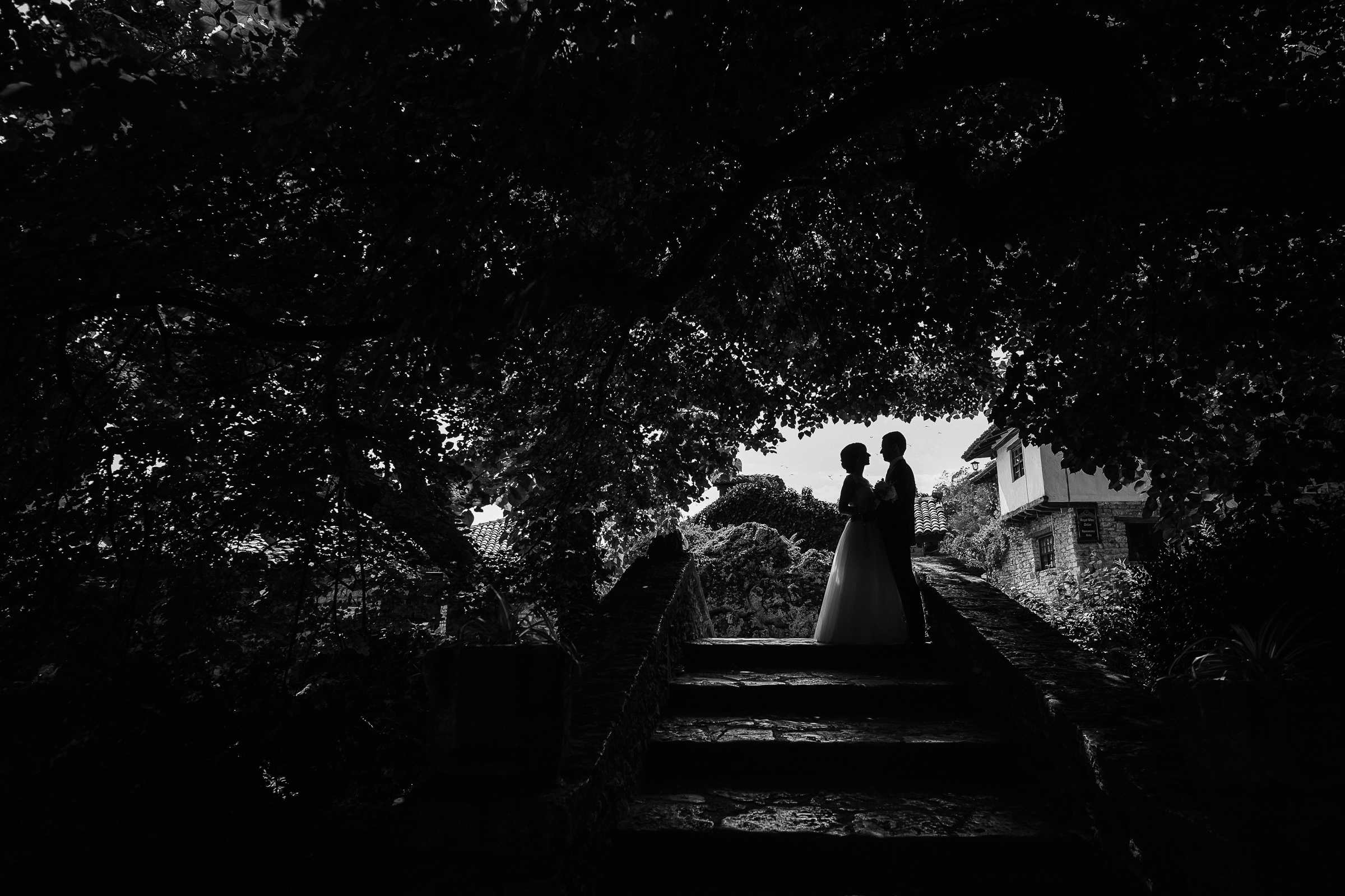 Silhouette couple on outdoor stairway - photo by Deliysky Studio