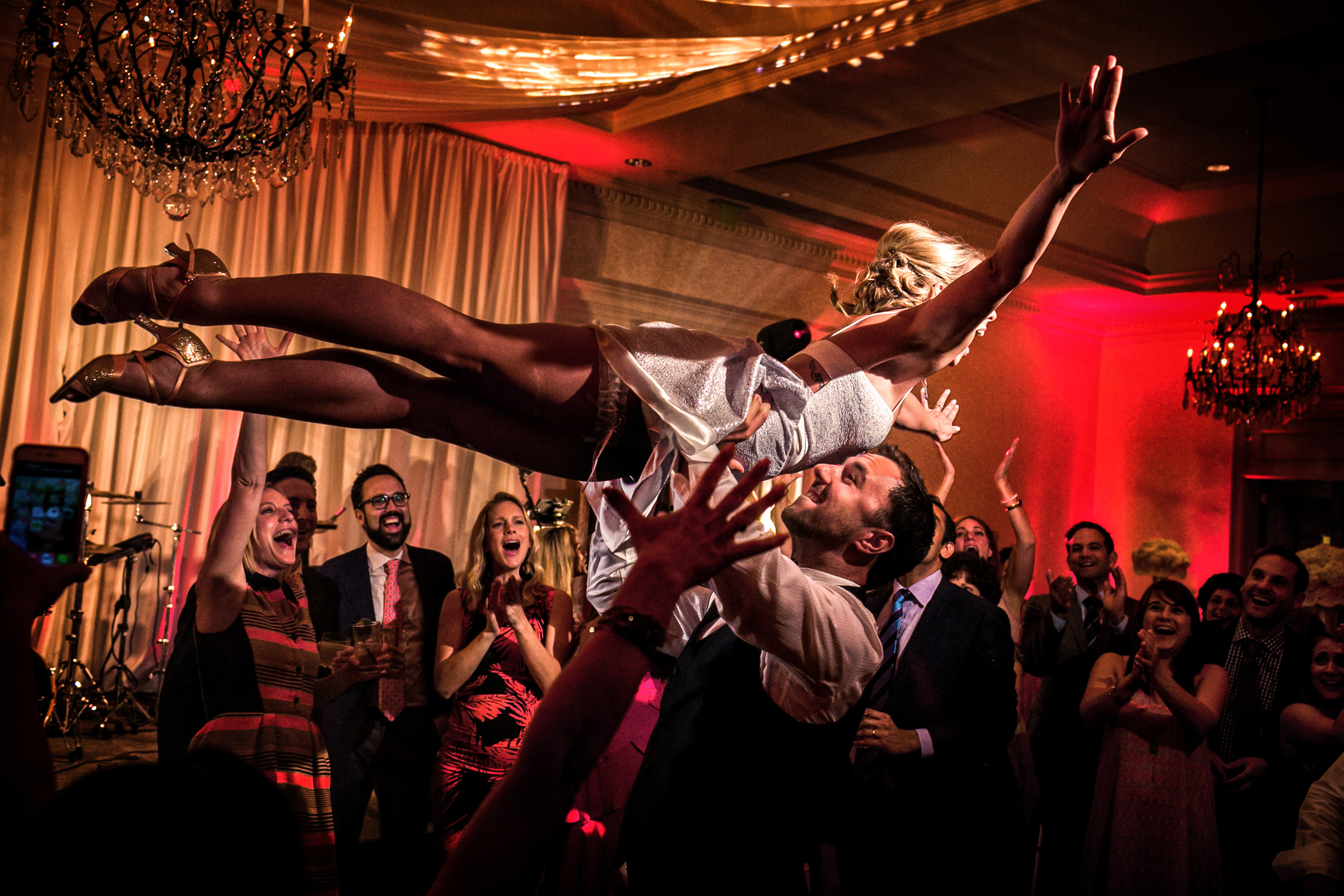 aerial bride at dance party - photo by Christophe Viseux Photography