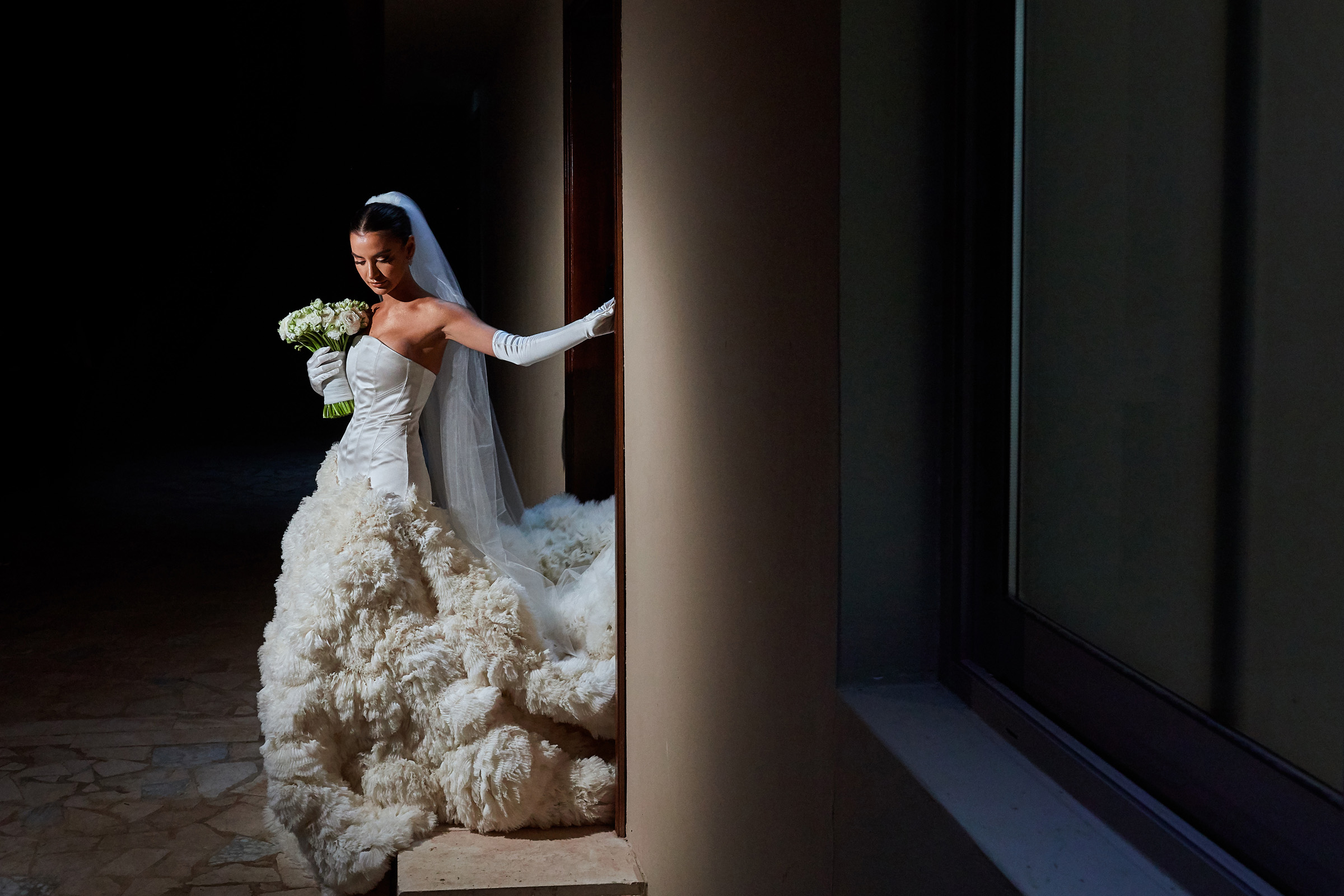 Creative composition of bride in voluminous ruffles - photo by Christophe Viseux Photography