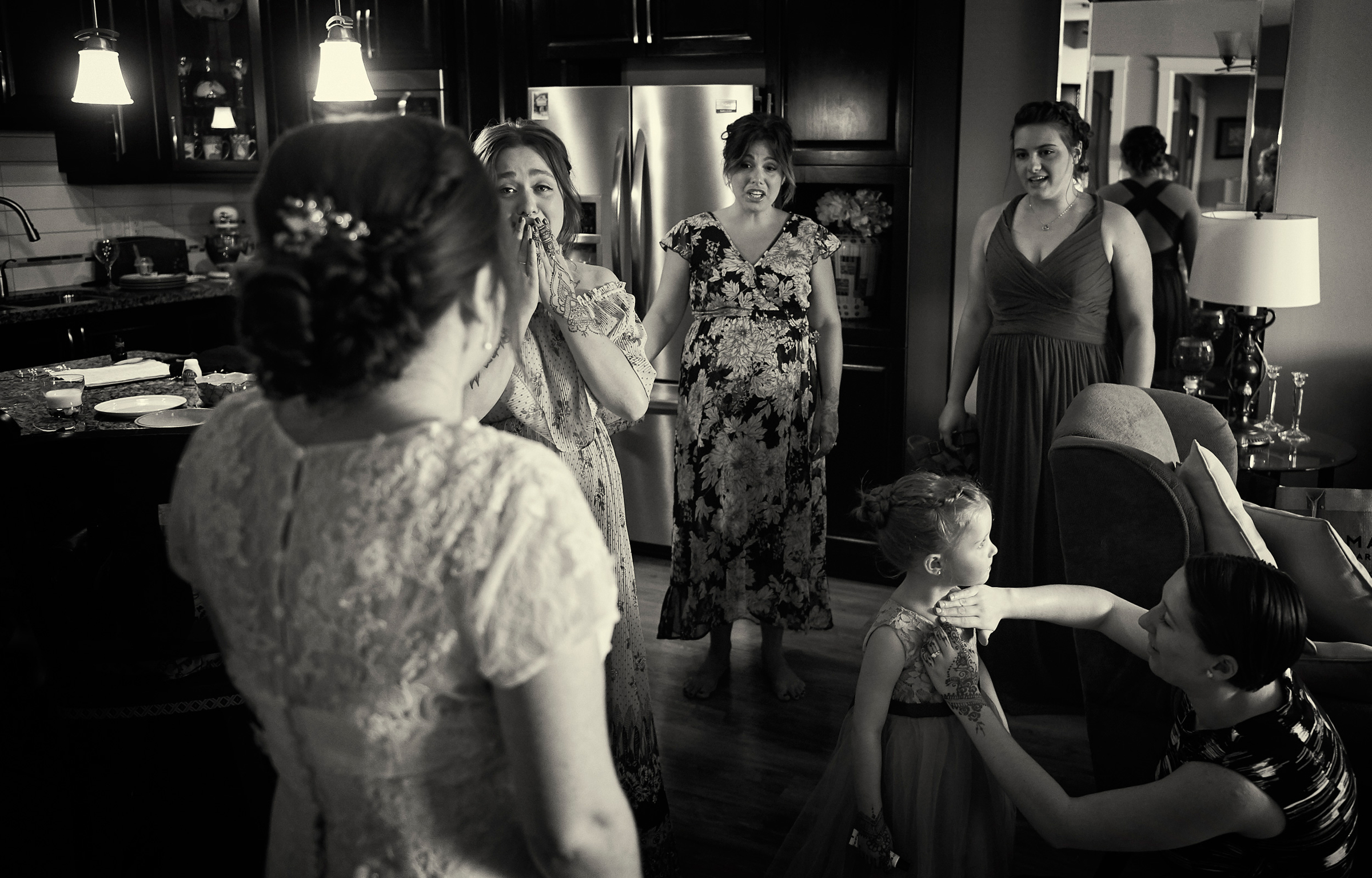 Emotional moment seeing  bride in gown - photo by Jozef Povazan Photography