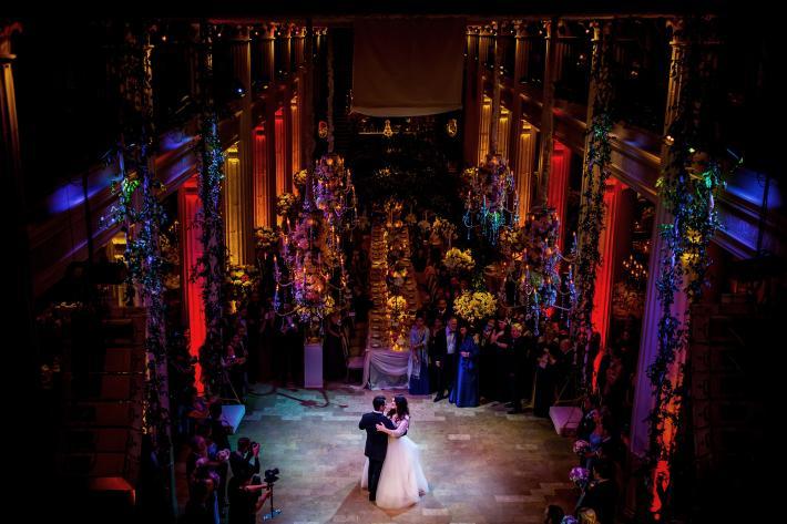 Romantic first dance photo in luxury ballroom by Davina plus Daniel