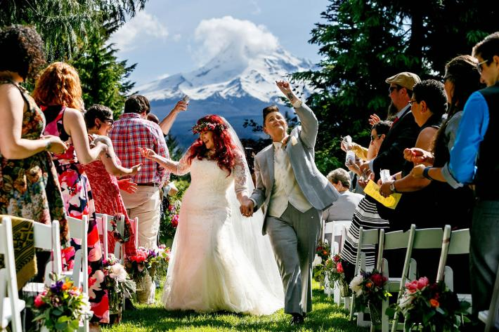Just married couple at Mt. Hood Organic Farms - photo by Jos Studios - Jos & Tree