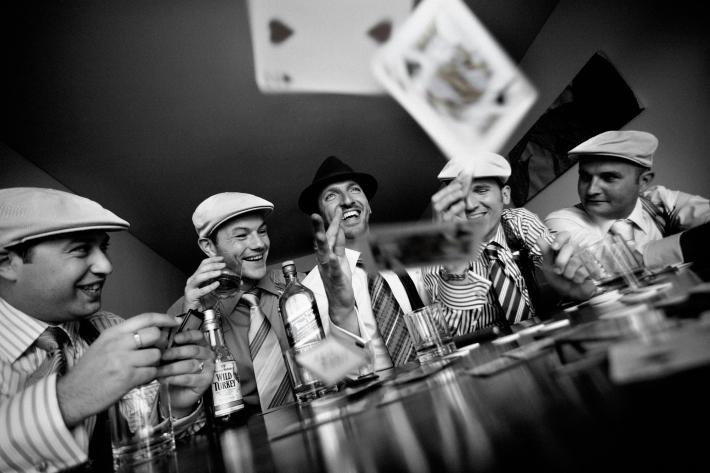 Groomsmen playing poker in Vegas - photo by Jerry Ghionis