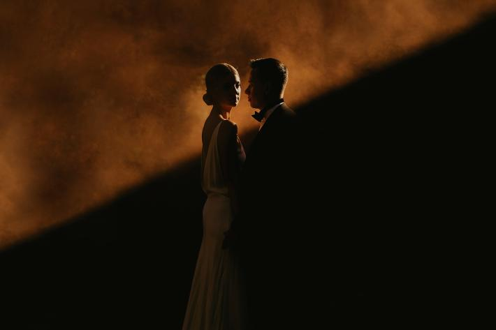 dramatic wedding portrait by Dan O'Day